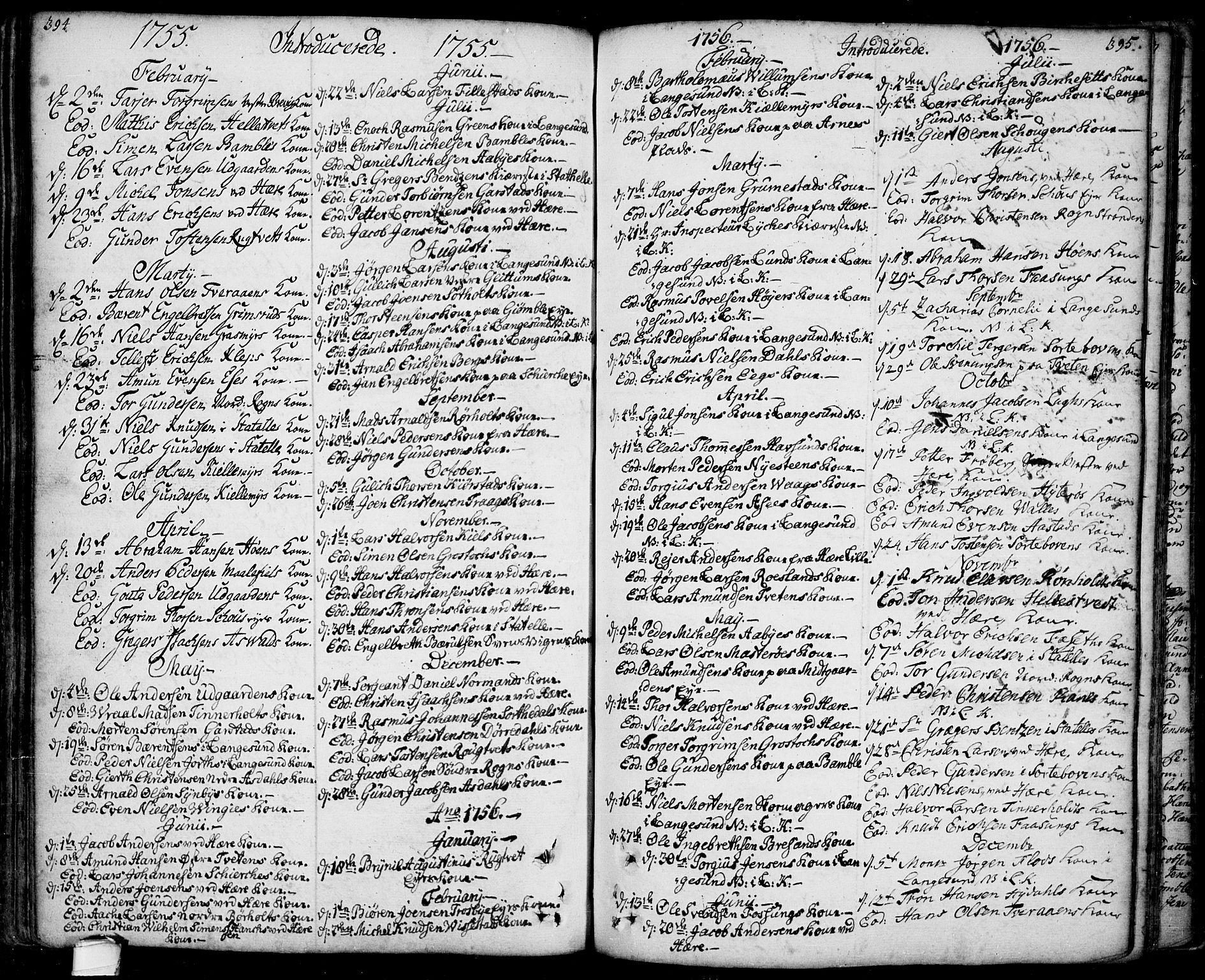 SAKO, Bamble kirkebøker, F/Fa/L0001: Ministerialbok nr. I 1, 1702-1774, s. 394-395