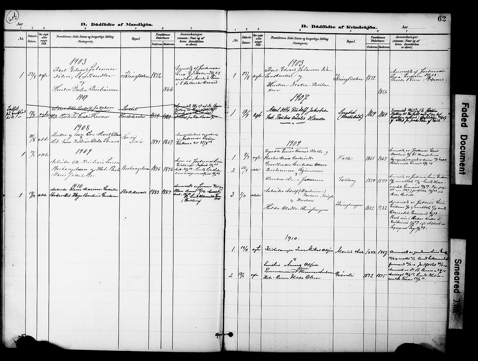 SAO, Nannestad prestekontor Kirkebøker, G/Gc/L0001: Klokkerbok nr. III 1, 1901-1916, s. 62