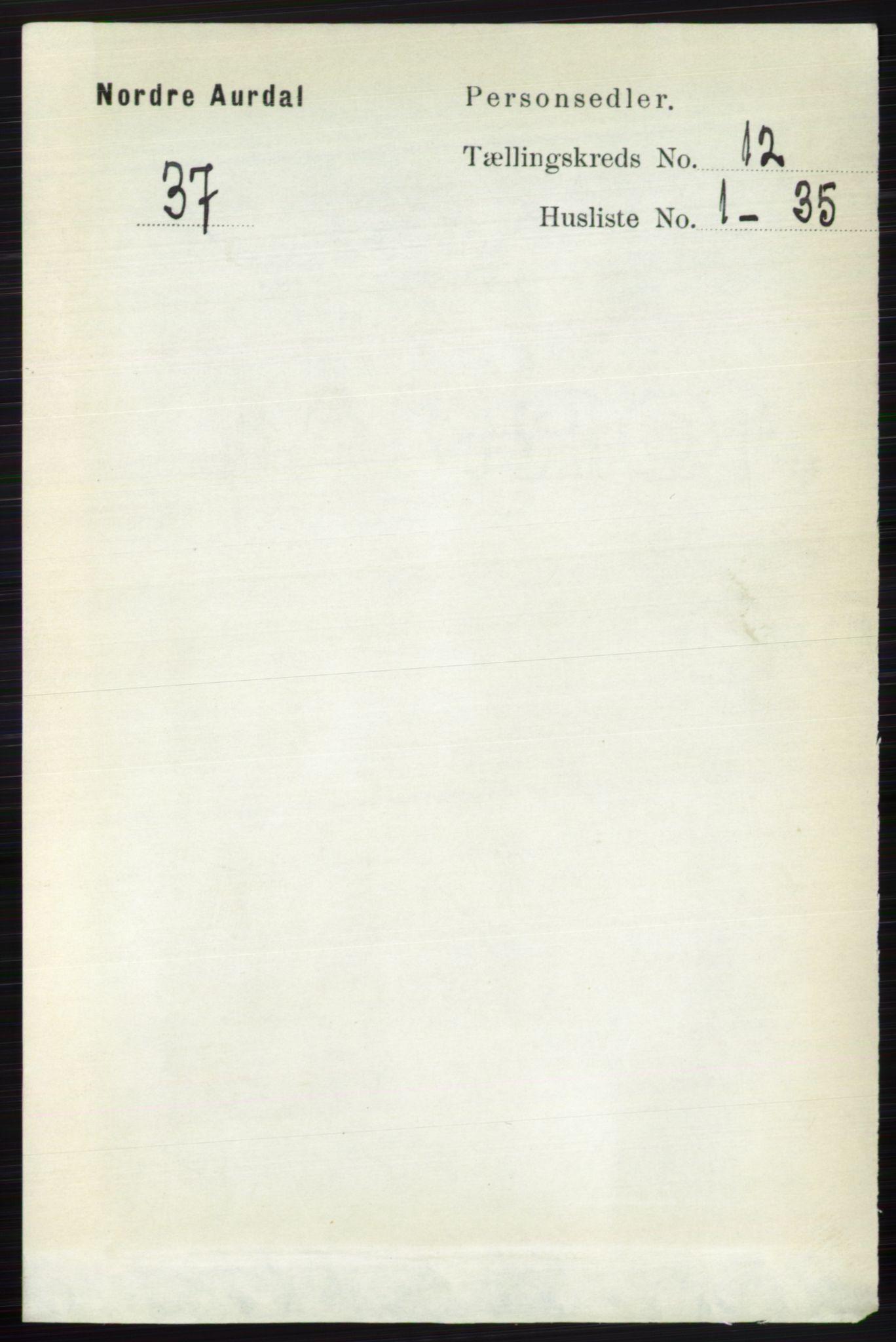 RA, Folketelling 1891 for 0542 Nord-Aurdal herred, 1891, s. 4501