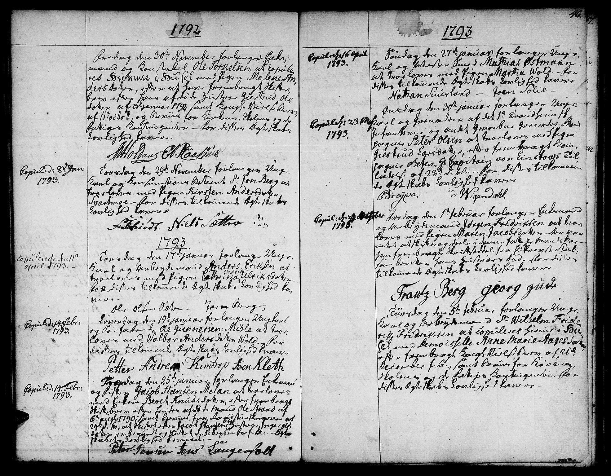 SAT, Ministerialprotokoller, klokkerbøker og fødselsregistre - Sør-Trøndelag, 601/L0041: Ministerialbok nr. 601A09, 1784-1801, s. 46