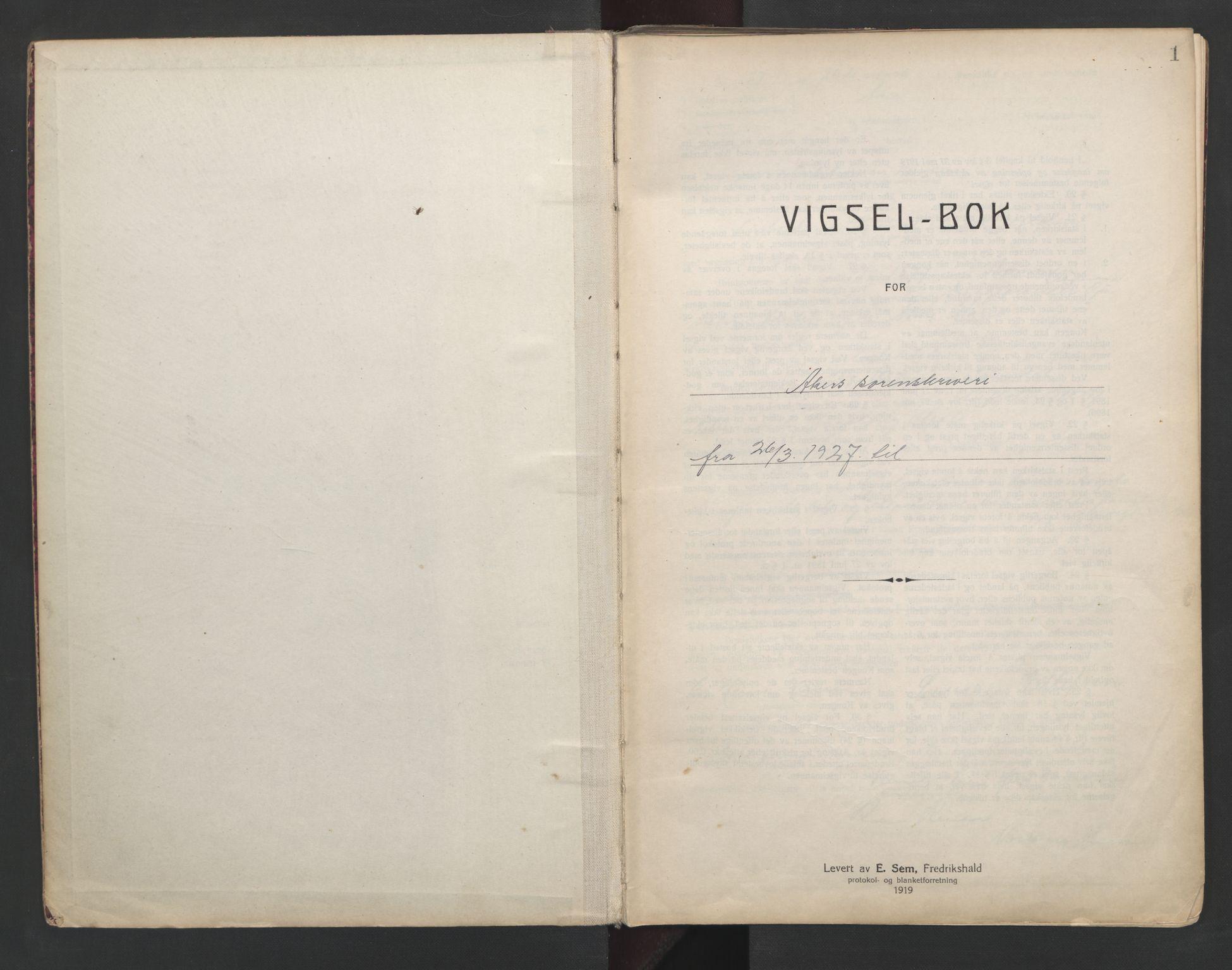 SAO, Aker sorenskriveri, L/Lc/Lcb/L0004: Vigselprotokoll, 1927-1929, s. 1