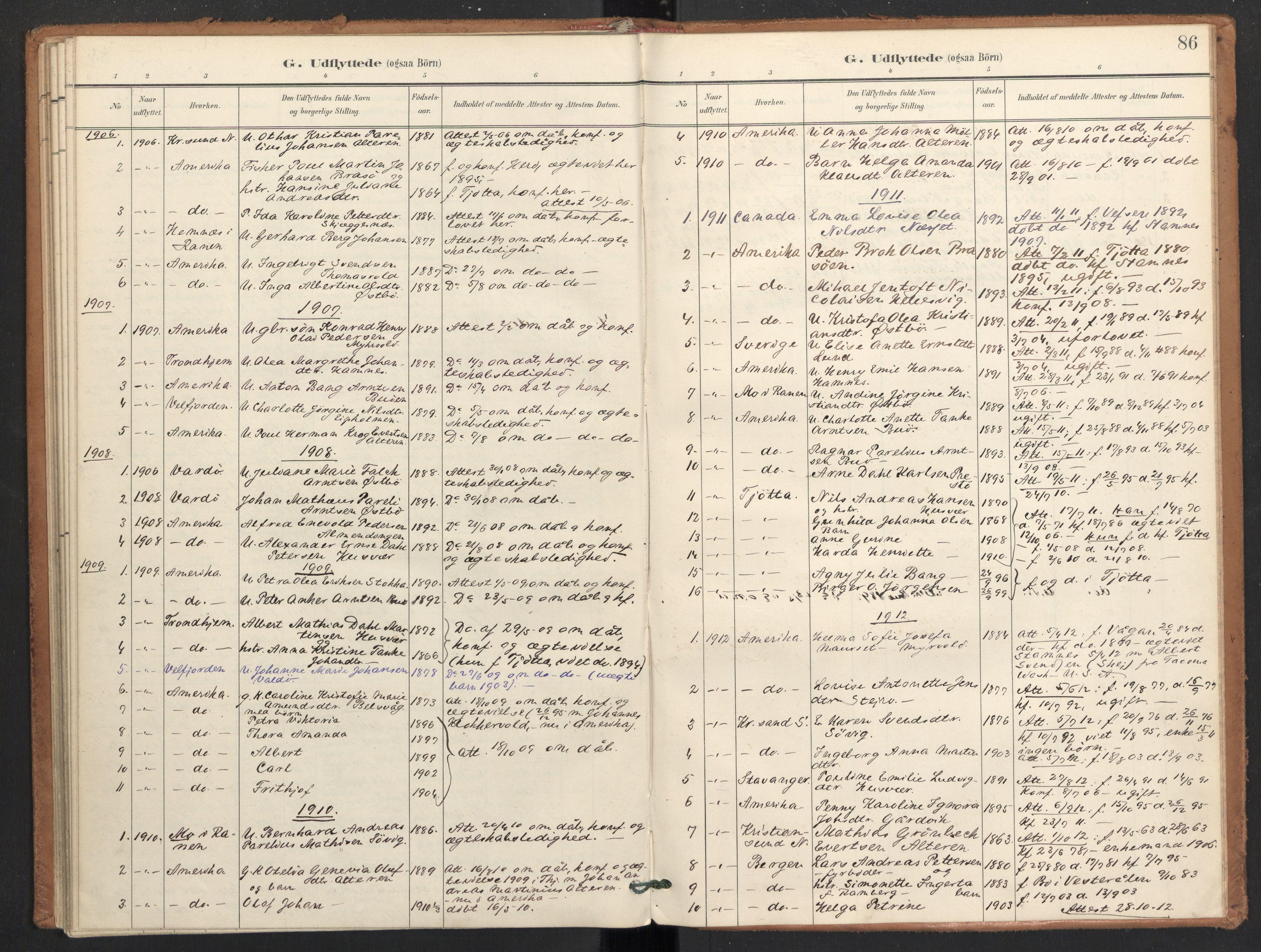SAT, Ministerialprotokoller, klokkerbøker og fødselsregistre - Nordland, 830/L0454: Ministerialbok nr. 830A18, 1897-1913, s. 86