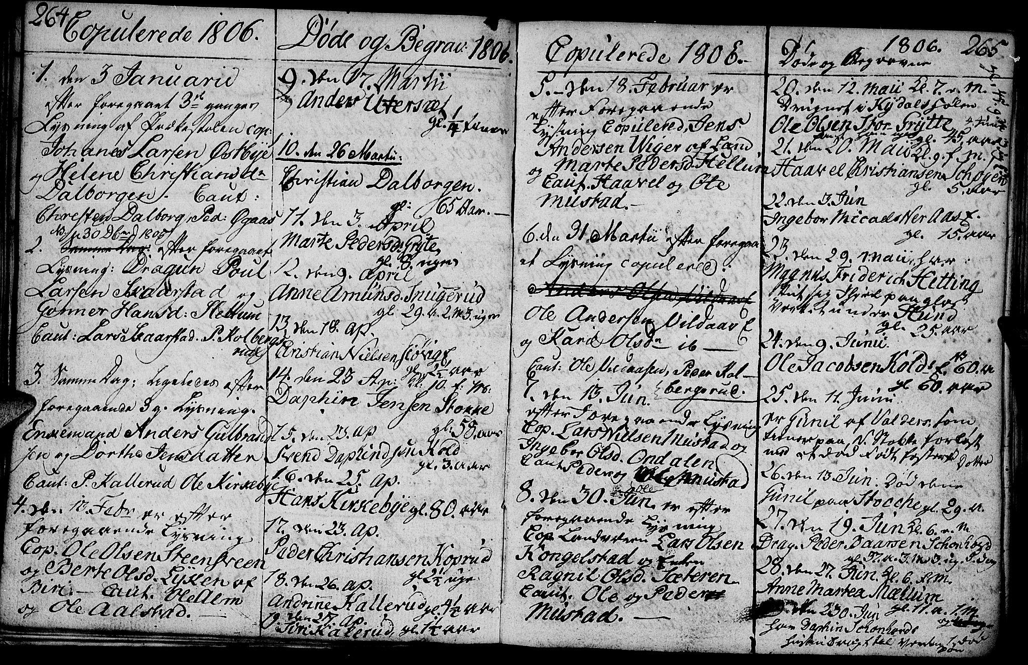 SAH, Vardal prestekontor, H/Ha/Hab/L0003: Klokkerbok nr. 3, 1803-1808, s. 264-265