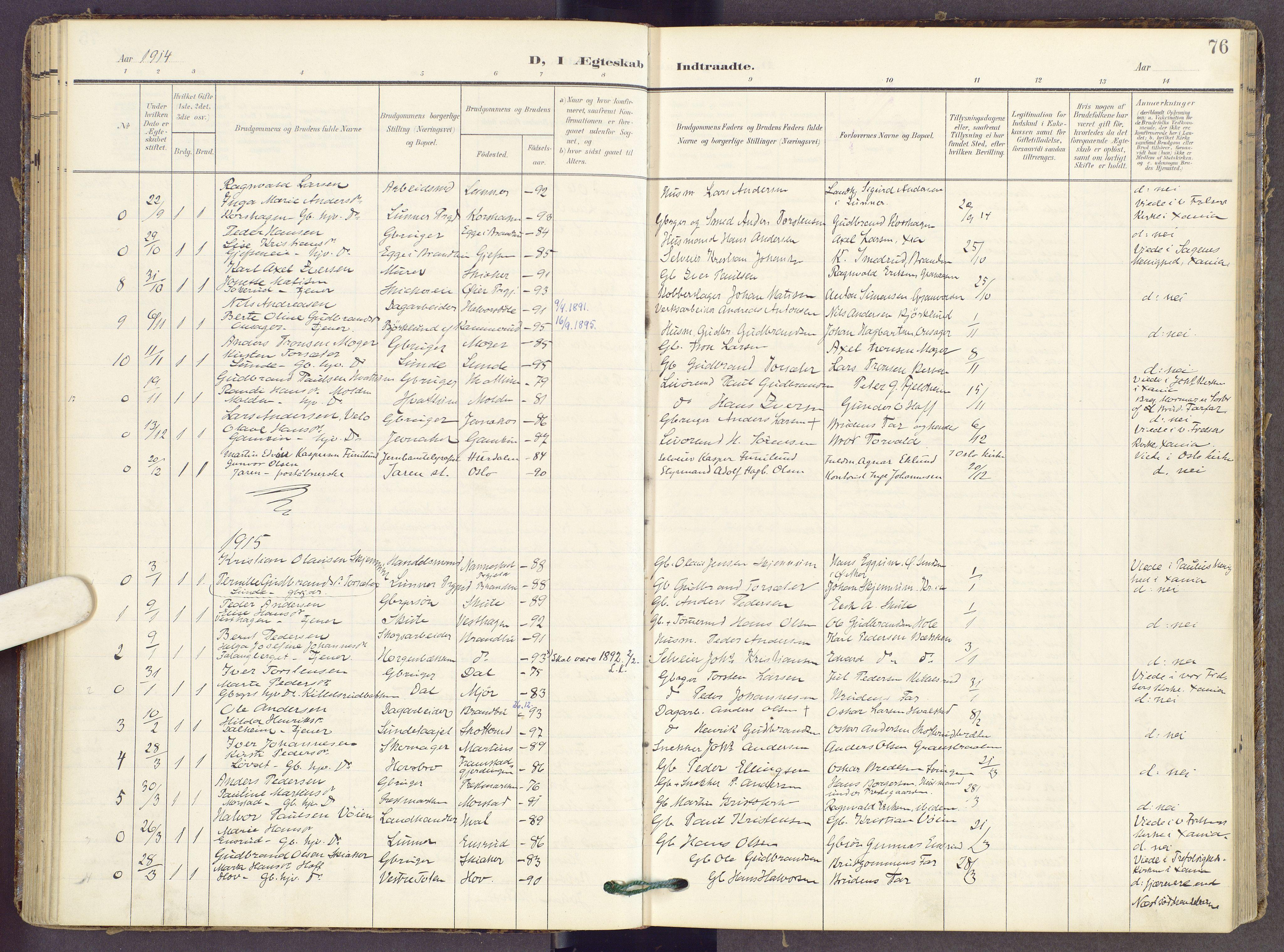 SAH, Gran prestekontor, Ministerialbok nr. 22, 1908-1918, s. 76