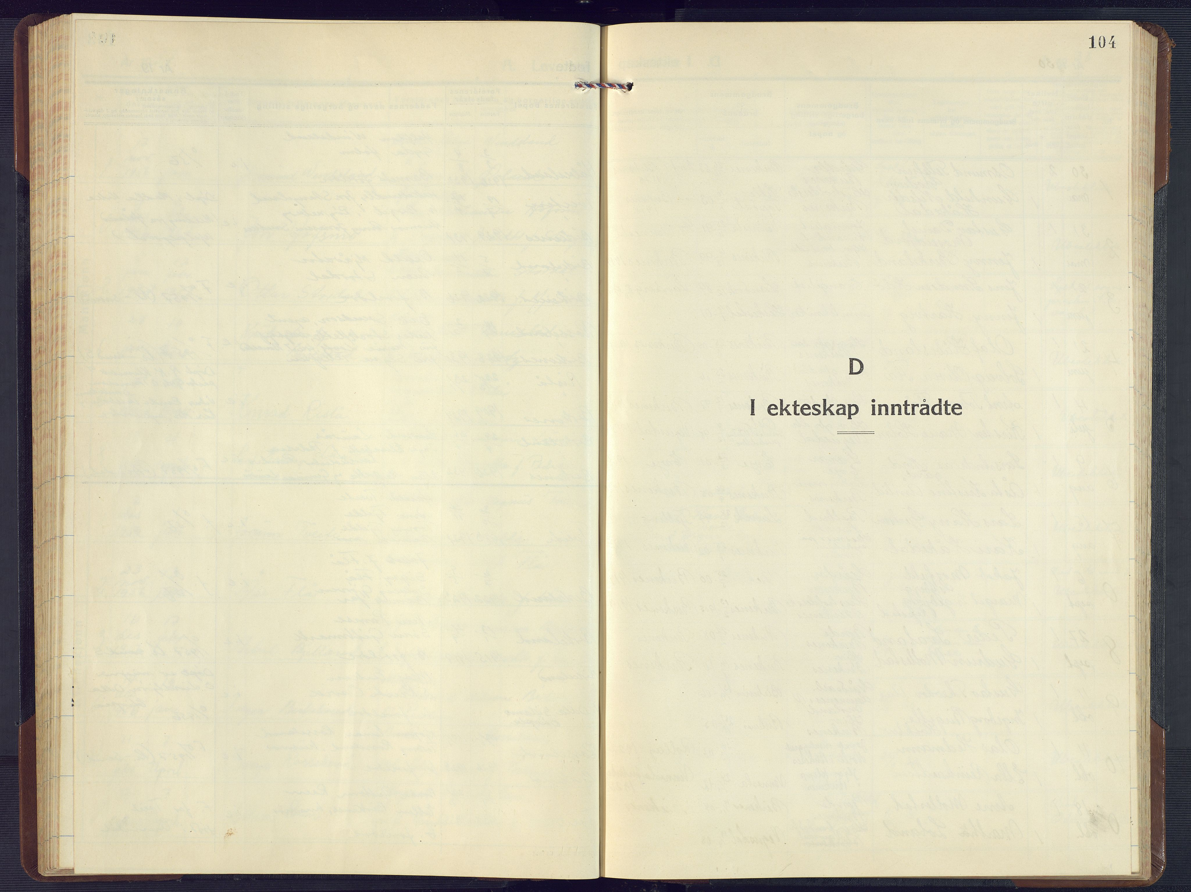 SAK, Birkenes sokneprestkontor, F/Fb/L0005: Klokkerbok nr. B 5, 1930-1957, s. 104