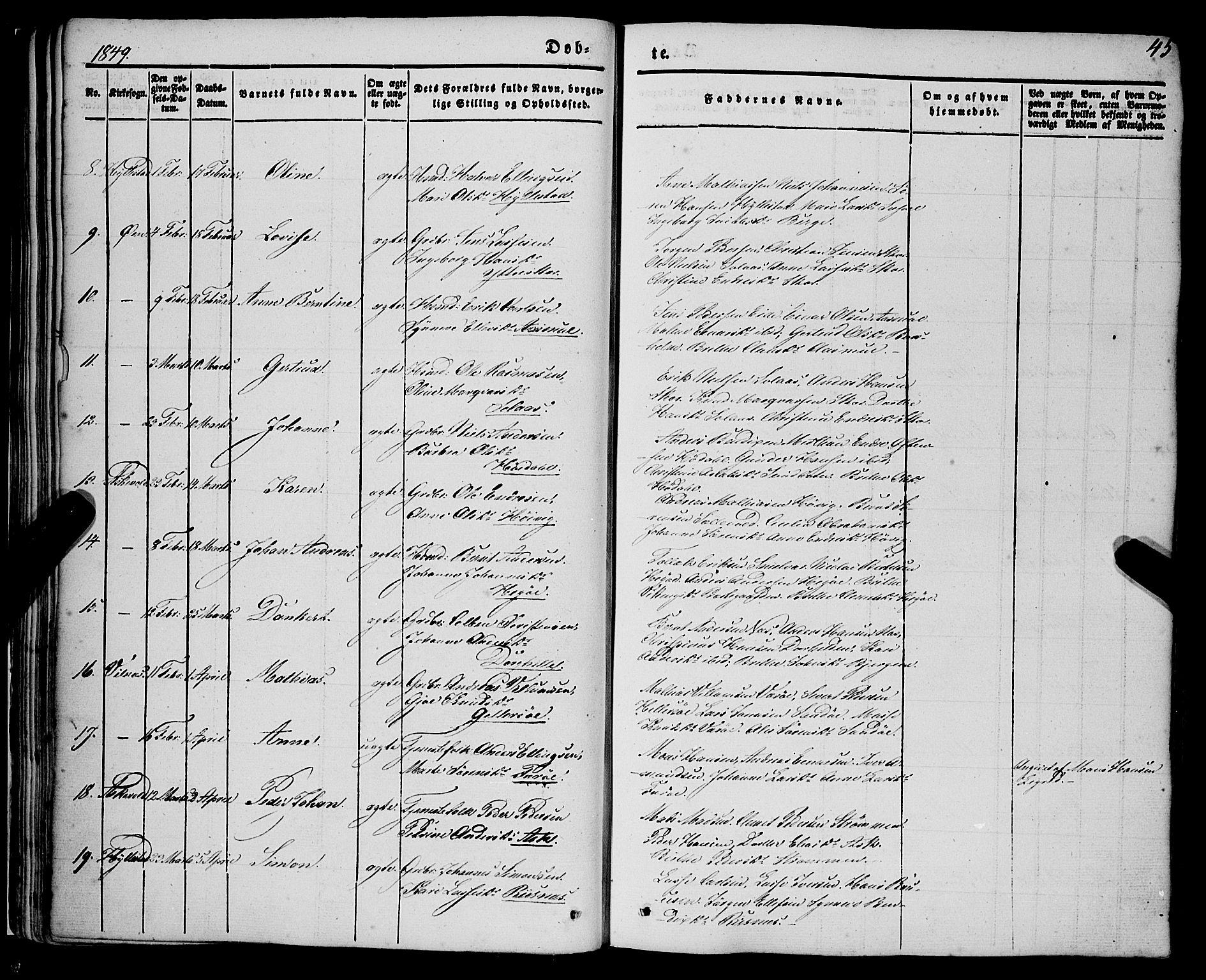 SAB, Askvoll Sokneprestembete, Ministerialbok nr. A 11I, 1845-1864, s. 45