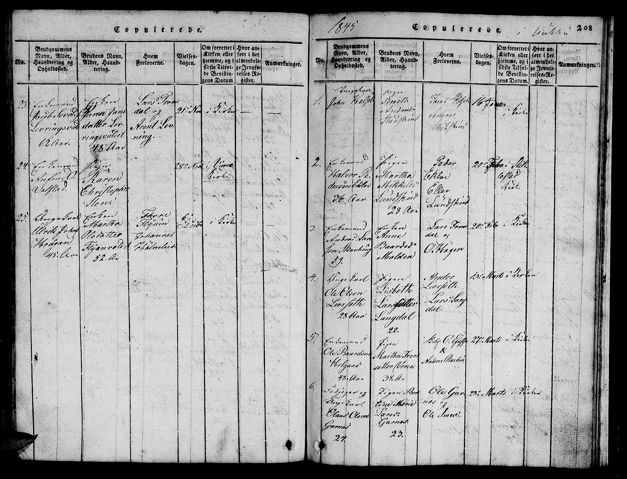 SAT, Ministerialprotokoller, klokkerbøker og fødselsregistre - Nord-Trøndelag, 723/L0251: Klokkerbok nr. 723C01 /2, 1843-1845, s. 208