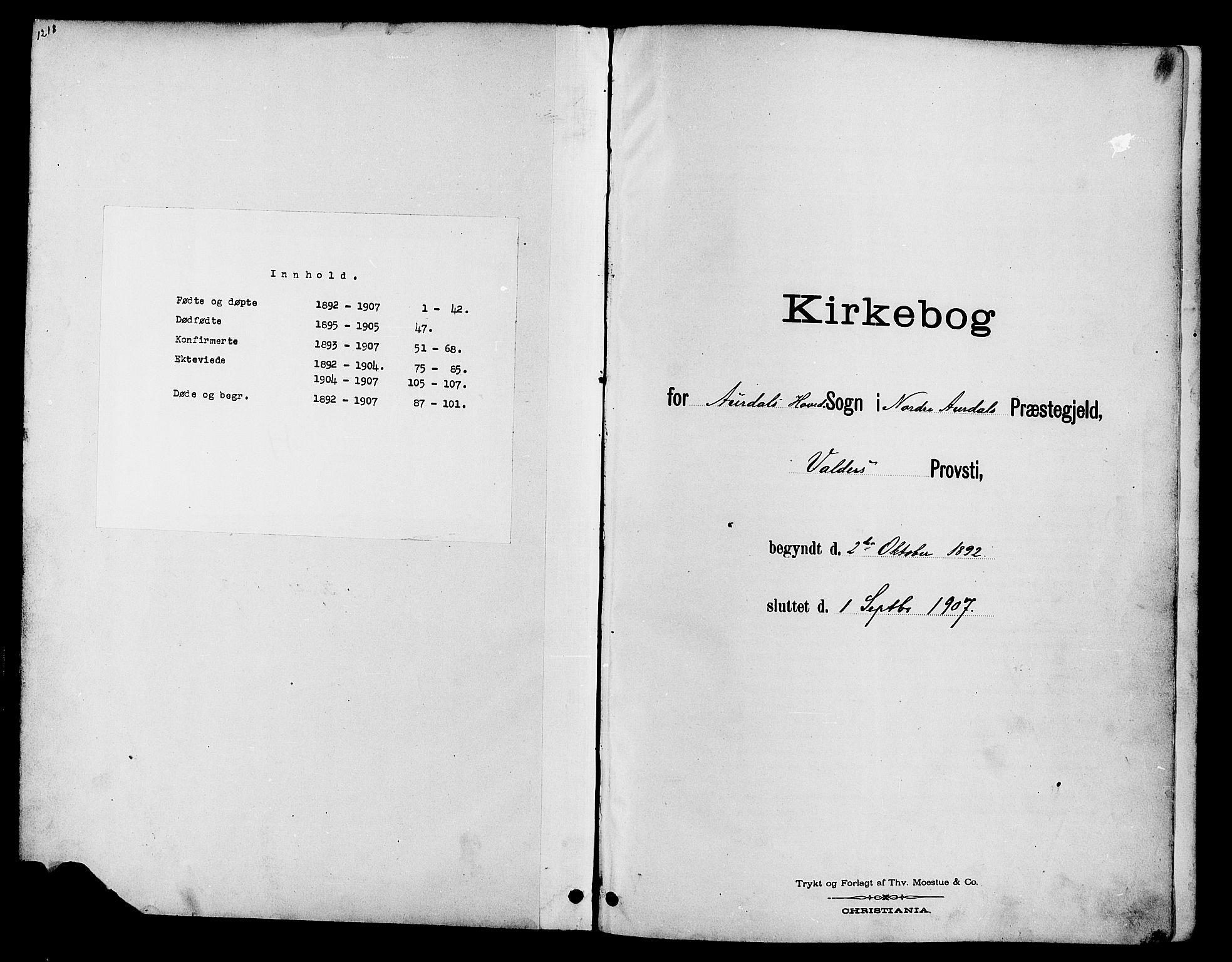 SAH, Nord-Aurdal prestekontor, Klokkerbok nr. 10, 1892-1907