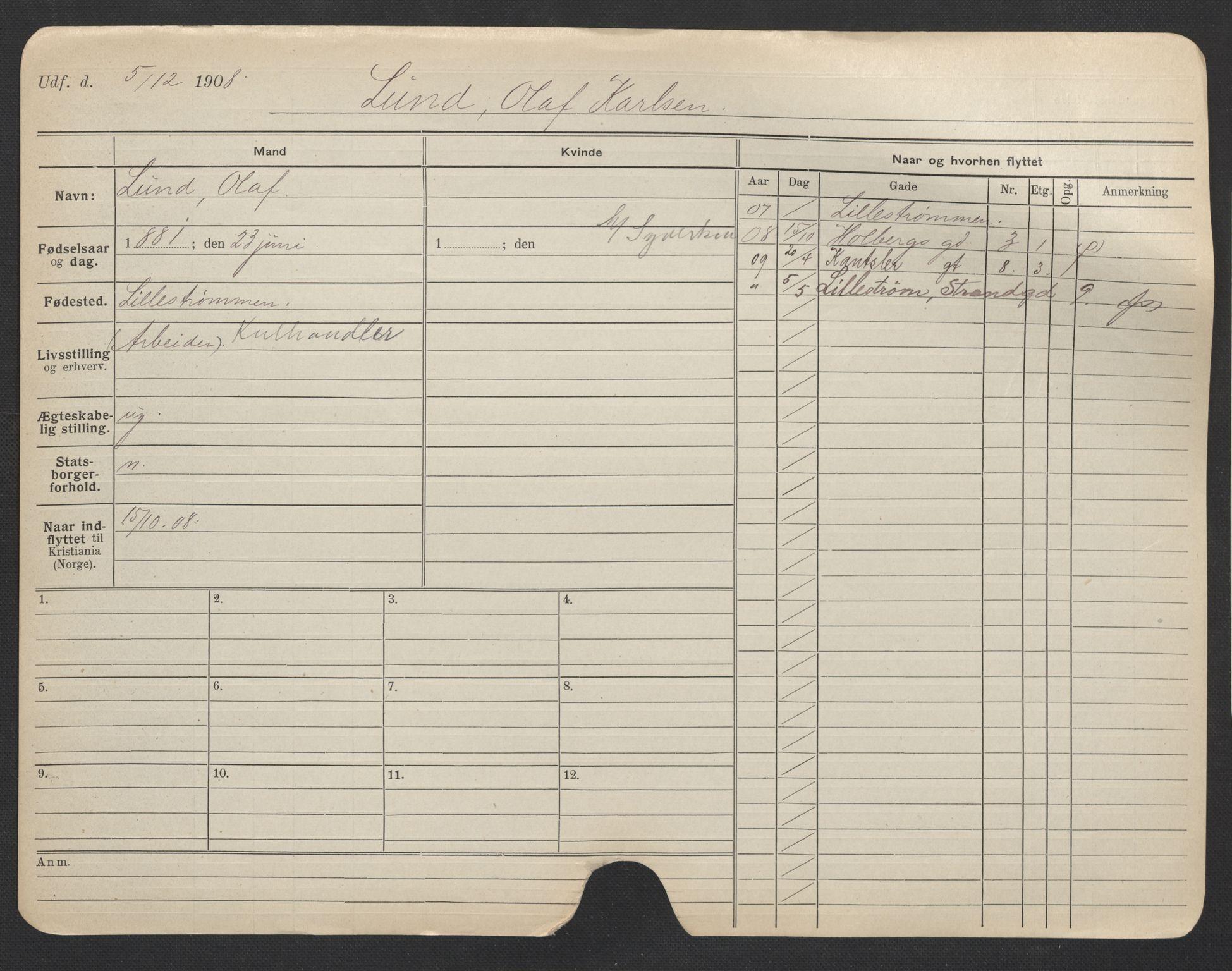 SAO, Oslo folkeregister, Registerkort, F/Fa/Fac/L0007: Menn, 1906-1914, s. 276a