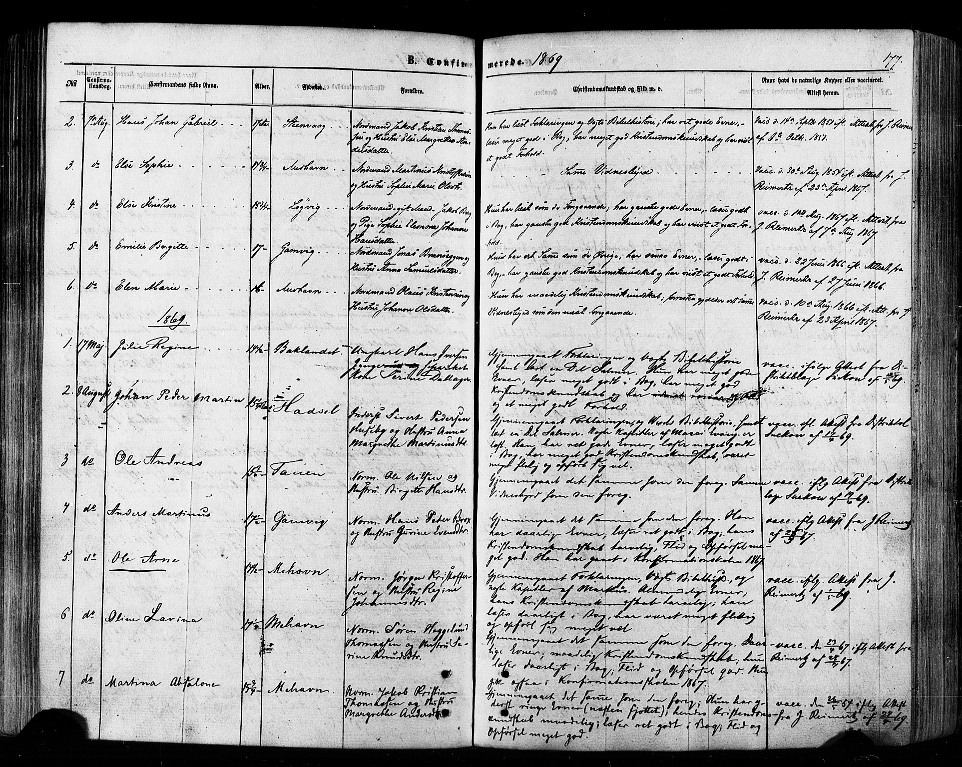SATØ, Tana sokneprestkontor, H/Ha/L0002kirke: Ministerialbok nr. 2 /2, 1862-1877, s. 177
