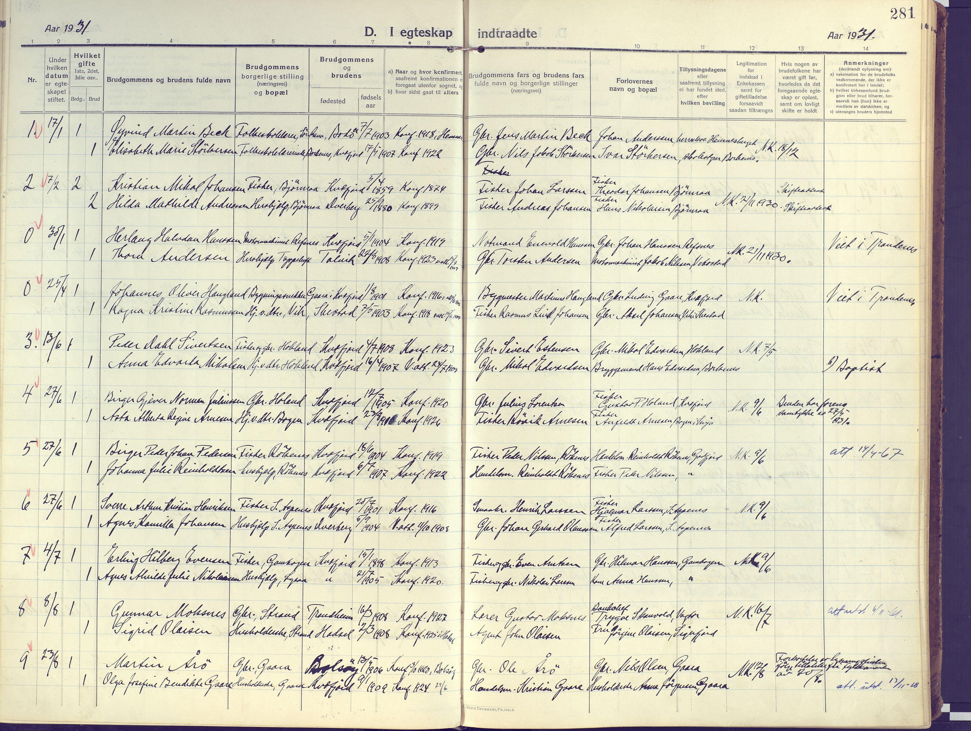 SATØ, Kvæfjord sokneprestkontor, G/Ga/Gaa/L0007kirke: Ministerialbok nr. 7, 1915-1931, s. 281