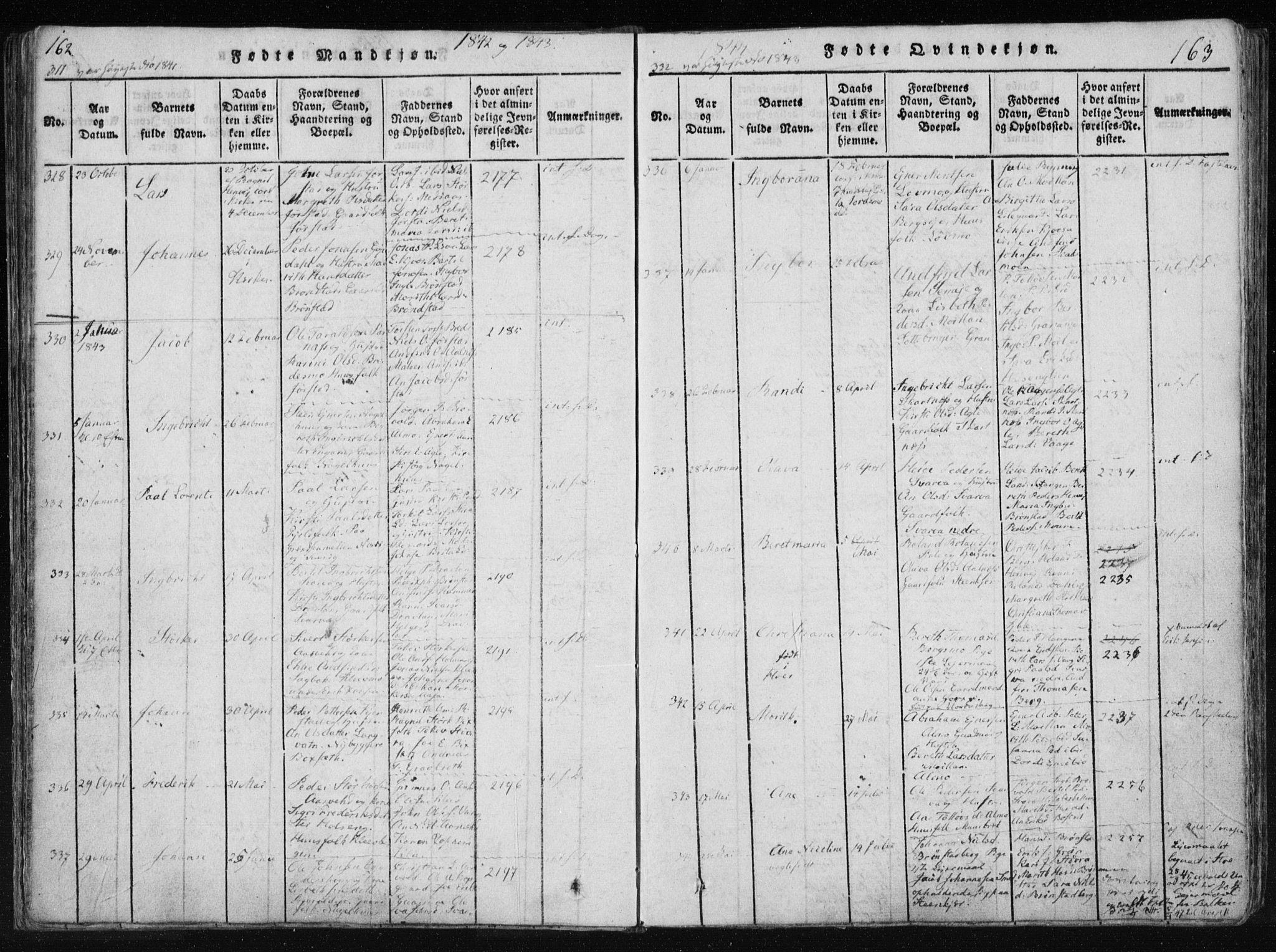 SAT, Ministerialprotokoller, klokkerbøker og fødselsregistre - Nord-Trøndelag, 749/L0469: Ministerialbok nr. 749A03, 1817-1857, s. 162-163