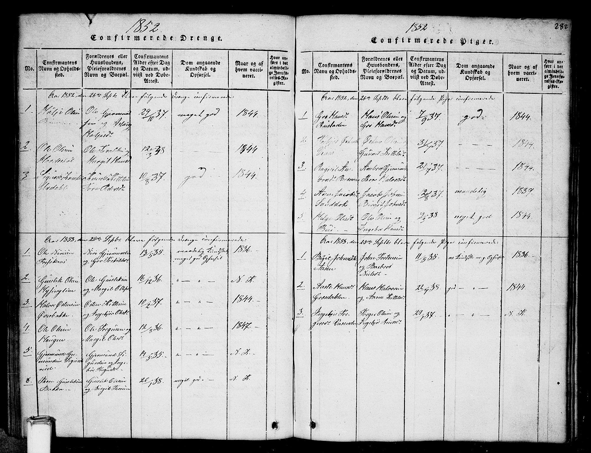 SAKO, Gransherad kirkebøker, G/Gb/L0001: Klokkerbok nr. II 1, 1815-1860, s. 282
