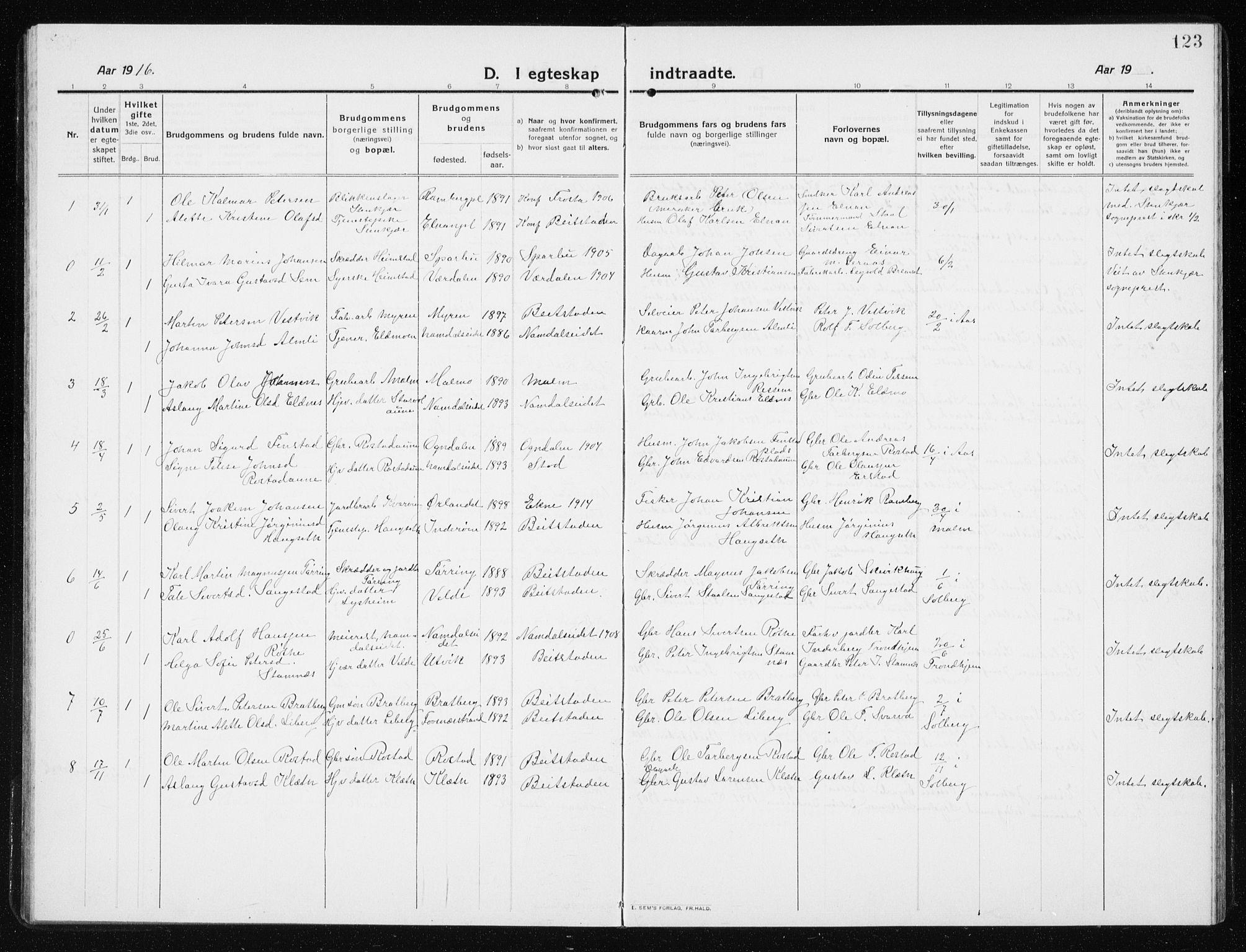 SAT, Ministerialprotokoller, klokkerbøker og fødselsregistre - Nord-Trøndelag, 741/L0402: Klokkerbok nr. 741C03, 1911-1926, s. 123