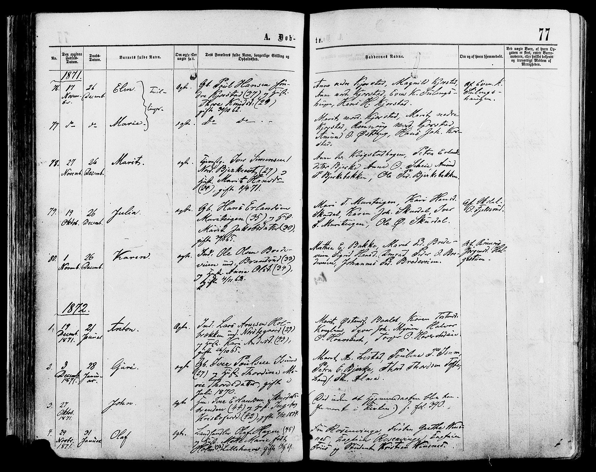 SAH, Sør-Fron prestekontor, H/Ha/Haa/L0002: Ministerialbok nr. 2, 1864-1880, s. 77