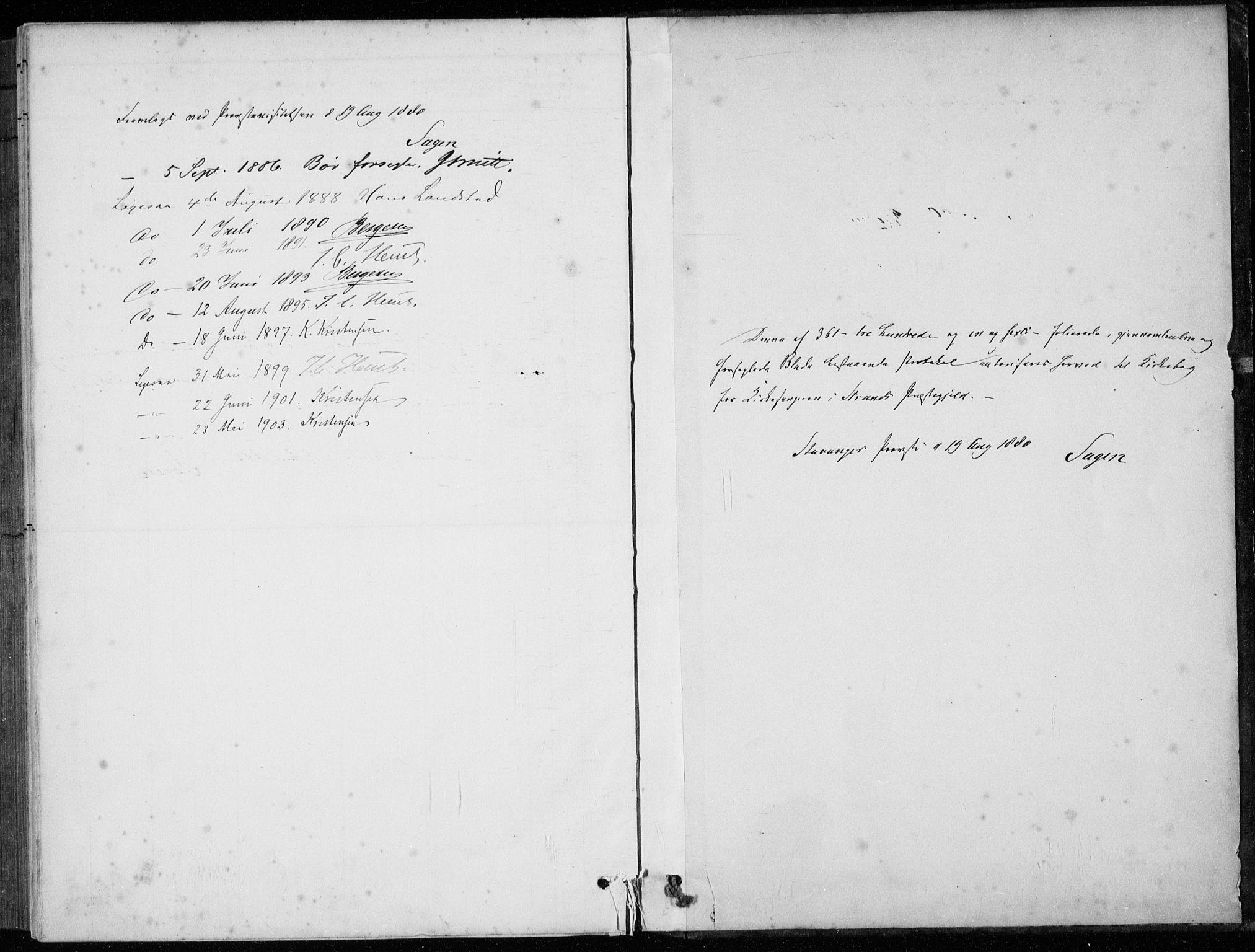 SAST, Strand sokneprestkontor, H/Ha/Hab/L0004: Klokkerbok nr. B 4, 1878-1903