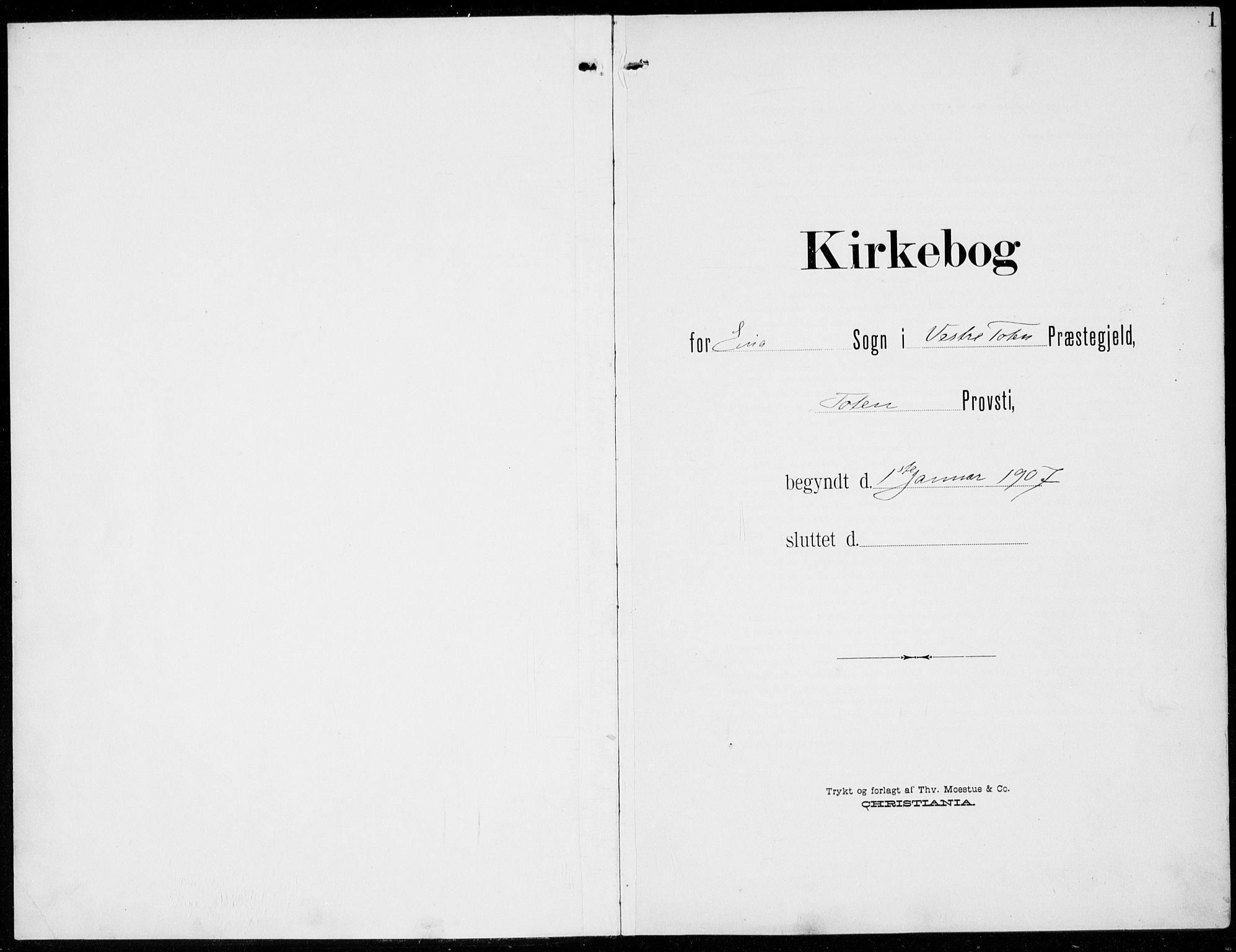SAH, Kolbu prestekontor, Ministerialbok nr. 1, 1907-1923, s. 1