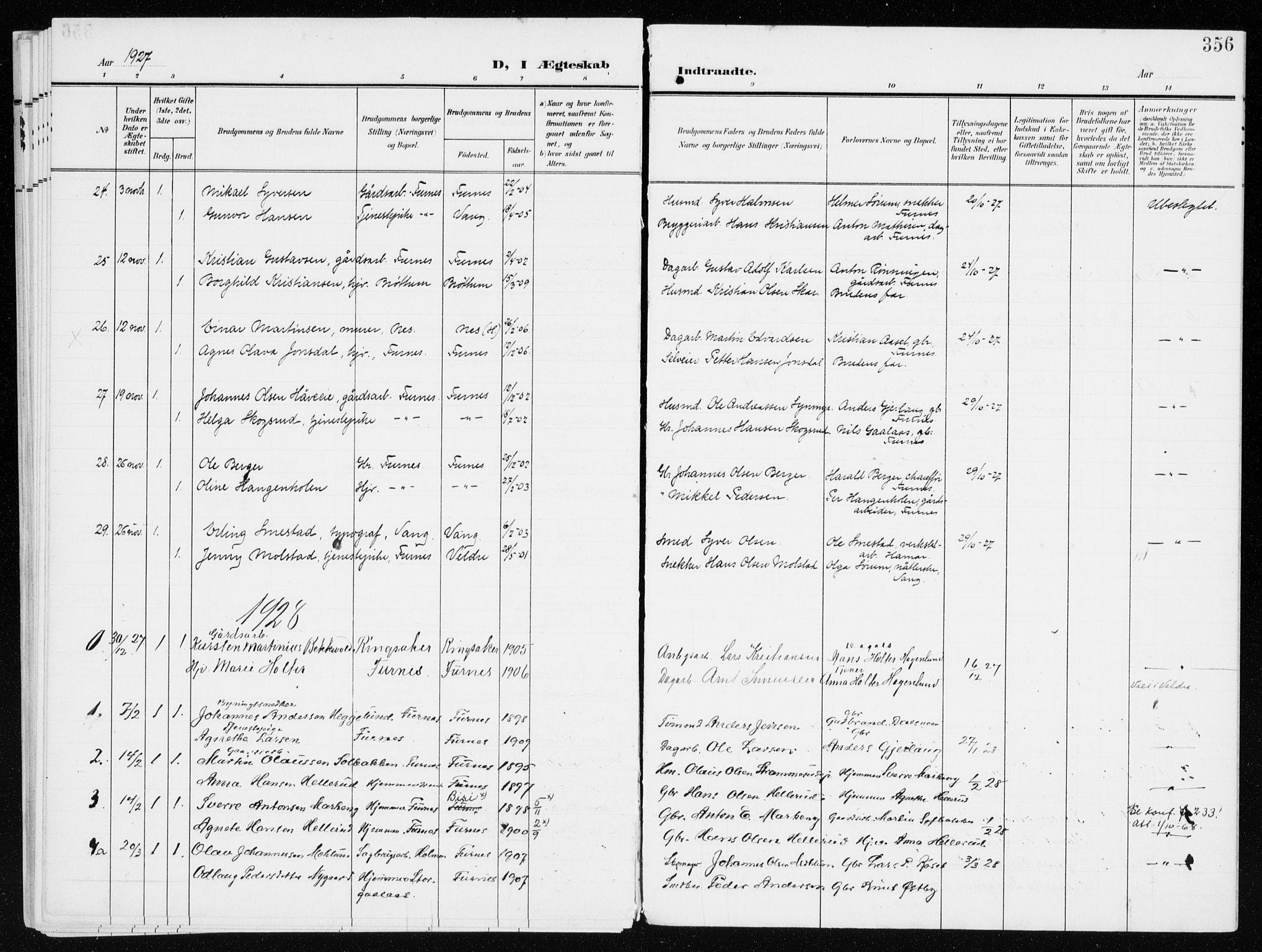 SAH, Furnes prestekontor, K/Ka/L0001: Ministerialbok nr. 1, 1907-1935, s. 356