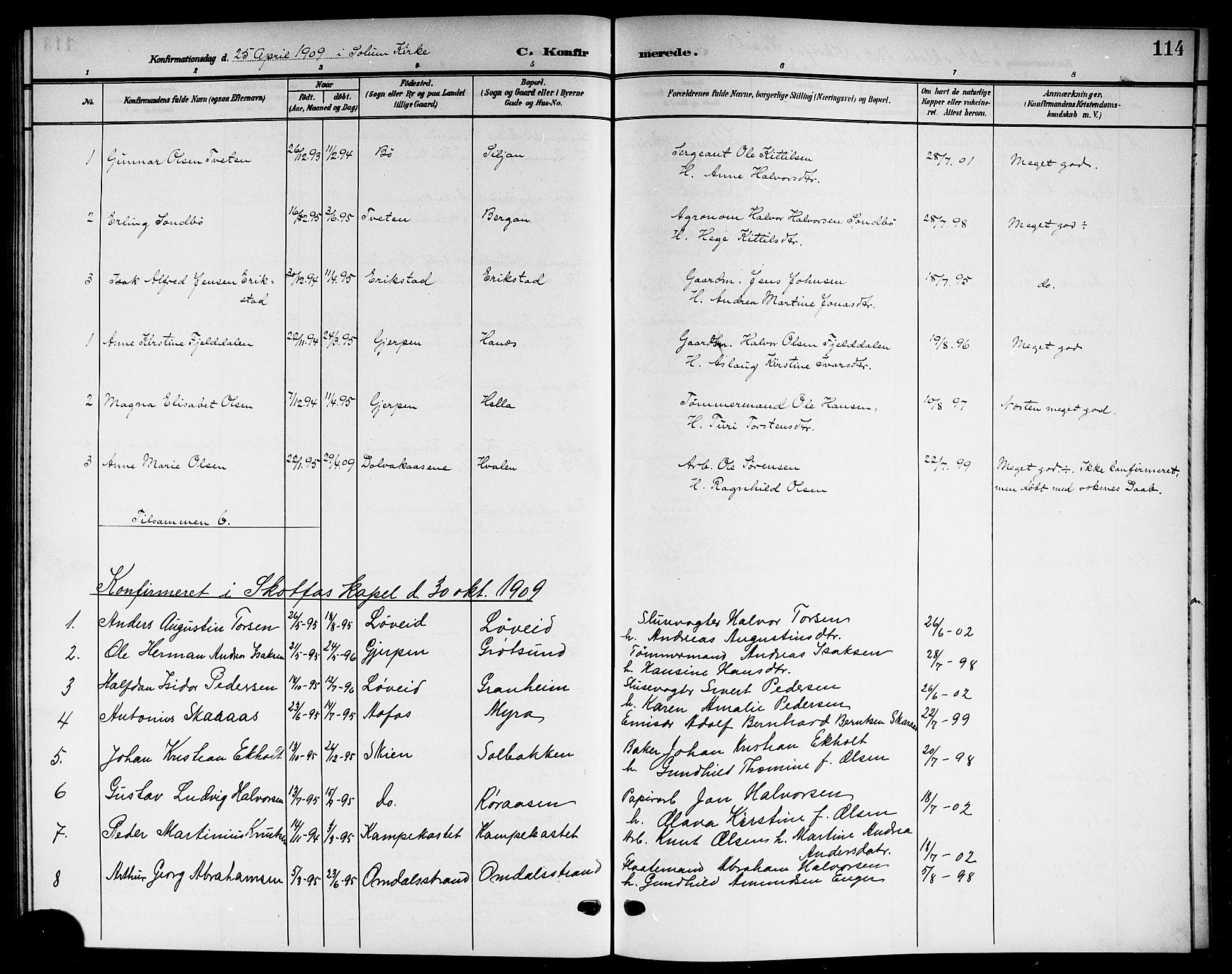 SAKO, Solum kirkebøker, G/Gb/L0005: Klokkerbok nr. II 5, 1905-1914, s. 114