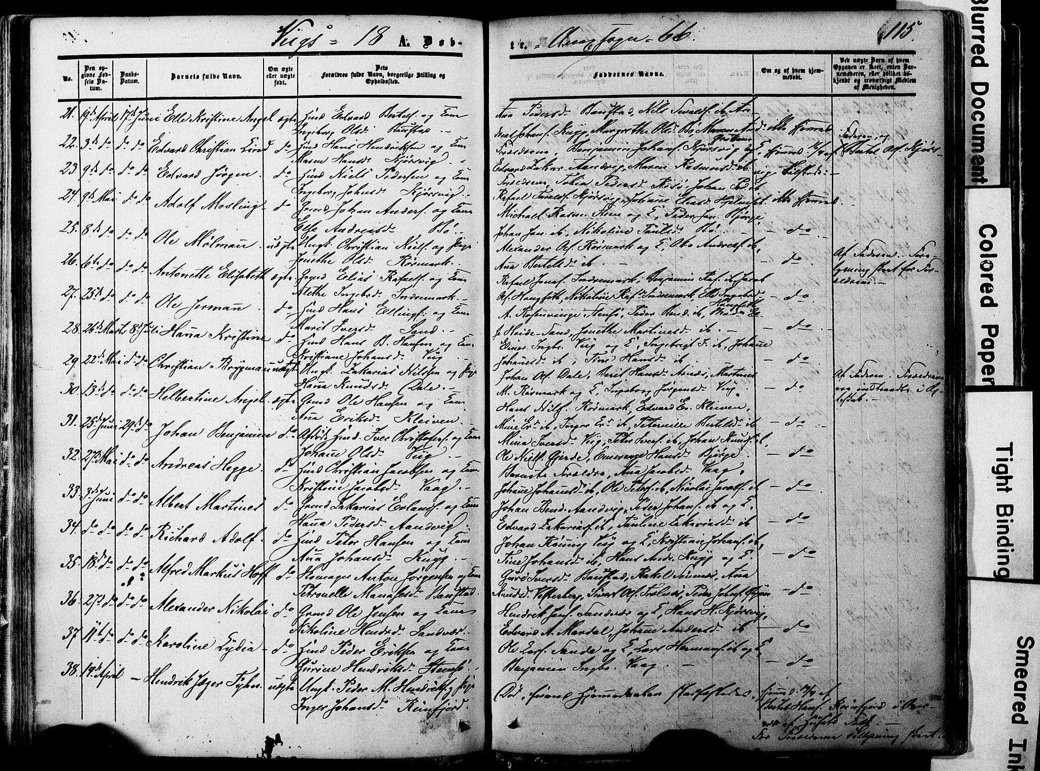 SAT, Ministerialprotokoller, klokkerbøker og fødselsregistre - Nordland, 812/L0176: Ministerialbok nr. 812A05, 1834-1874, s. 115