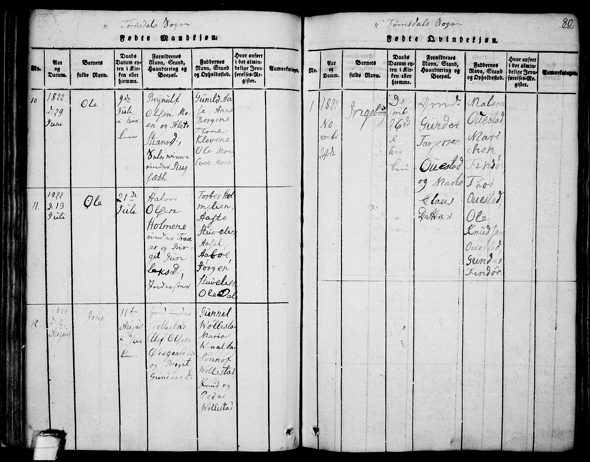 SAKO, Drangedal kirkebøker, F/Fa/L0005: Ministerialbok nr. 5 /2, 1814-1831, s. 80