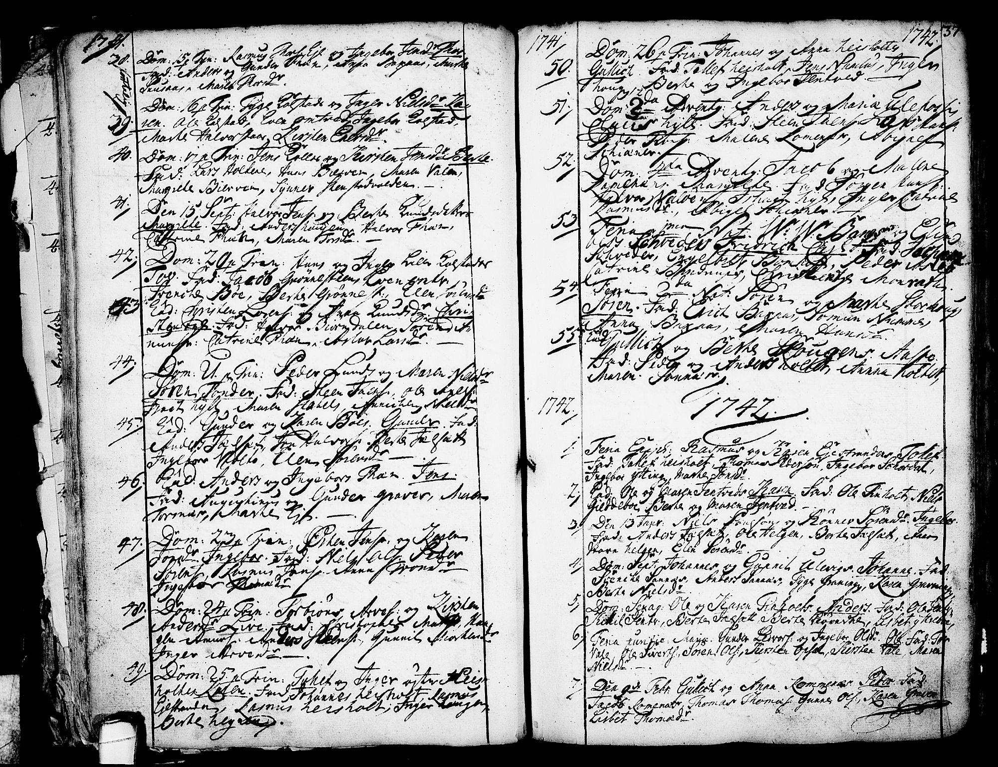SAKO, Holla kirkebøker, F/Fa/L0001: Ministerialbok nr. 1, 1717-1779, s. 37