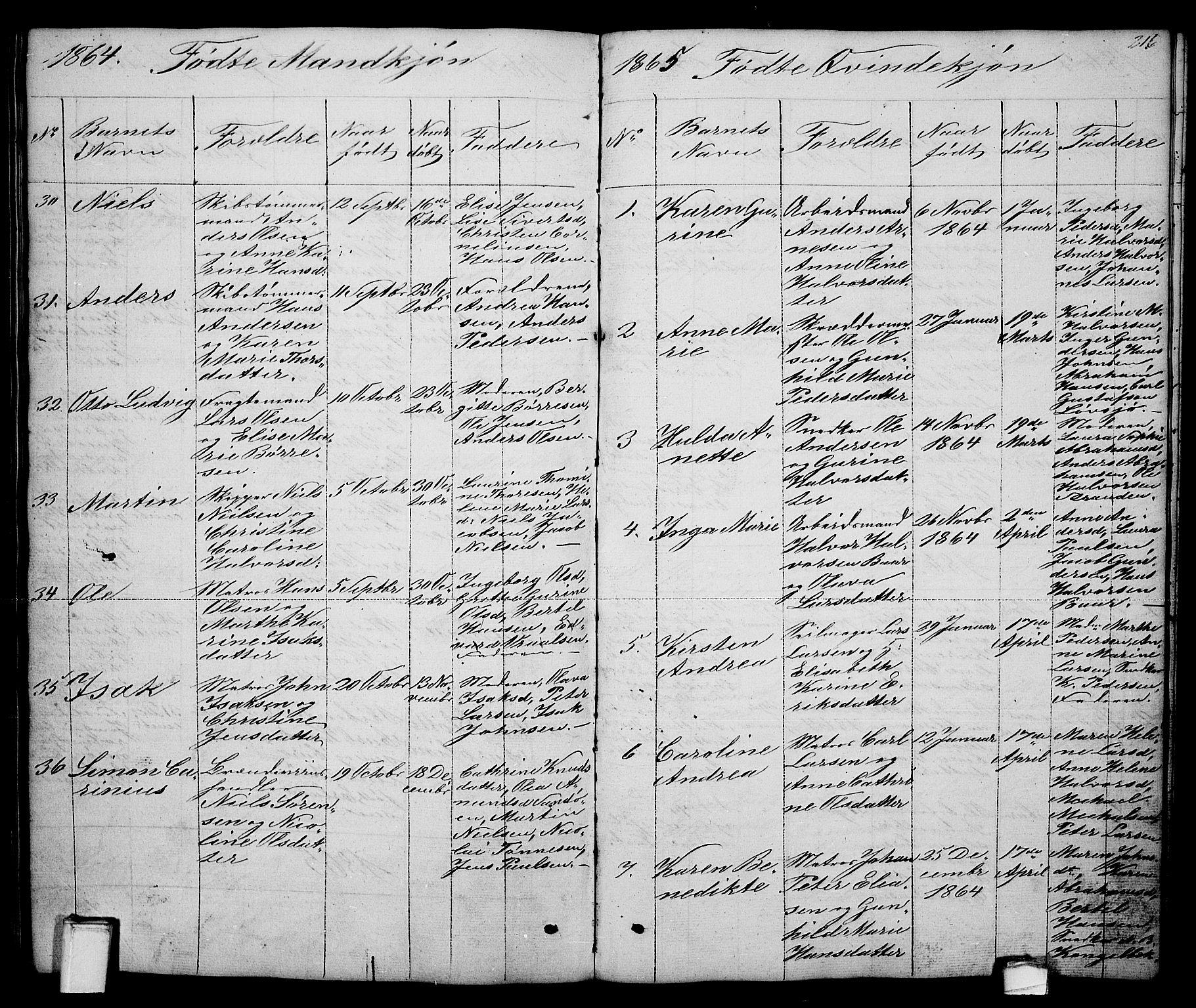 SAKO, Brevik kirkebøker, G/Ga/L0002: Klokkerbok nr. 2, 1846-1865, s. 216