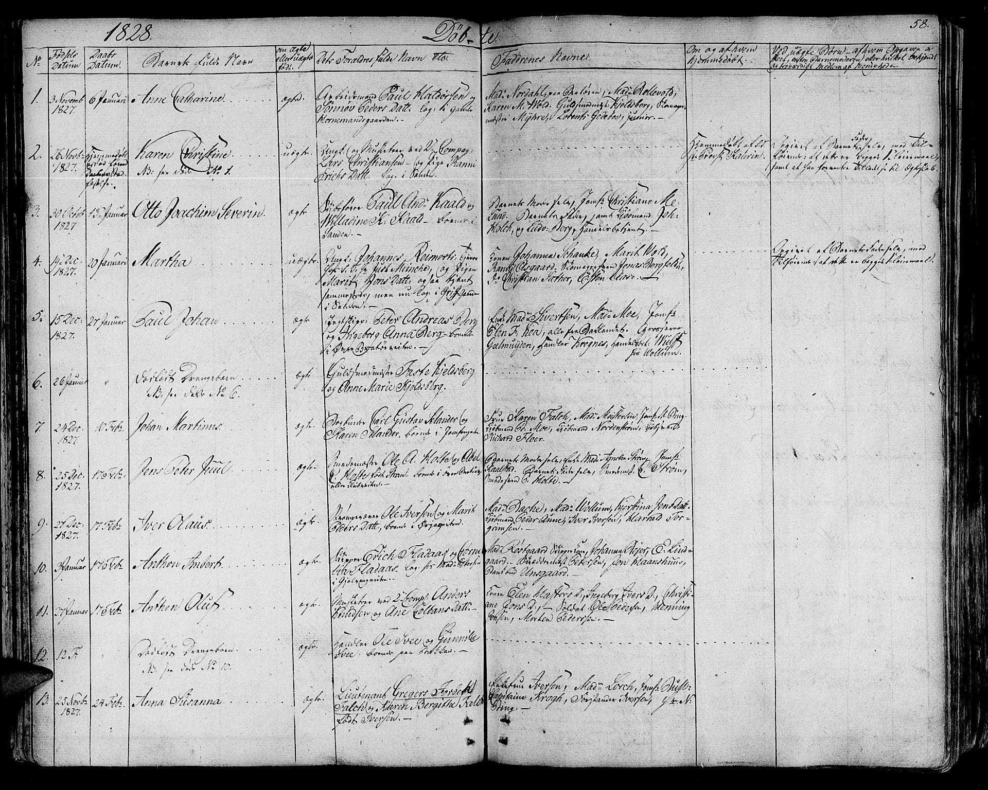 SAT, Ministerialprotokoller, klokkerbøker og fødselsregistre - Sør-Trøndelag, 602/L0108: Ministerialbok nr. 602A06, 1821-1839, s. 58