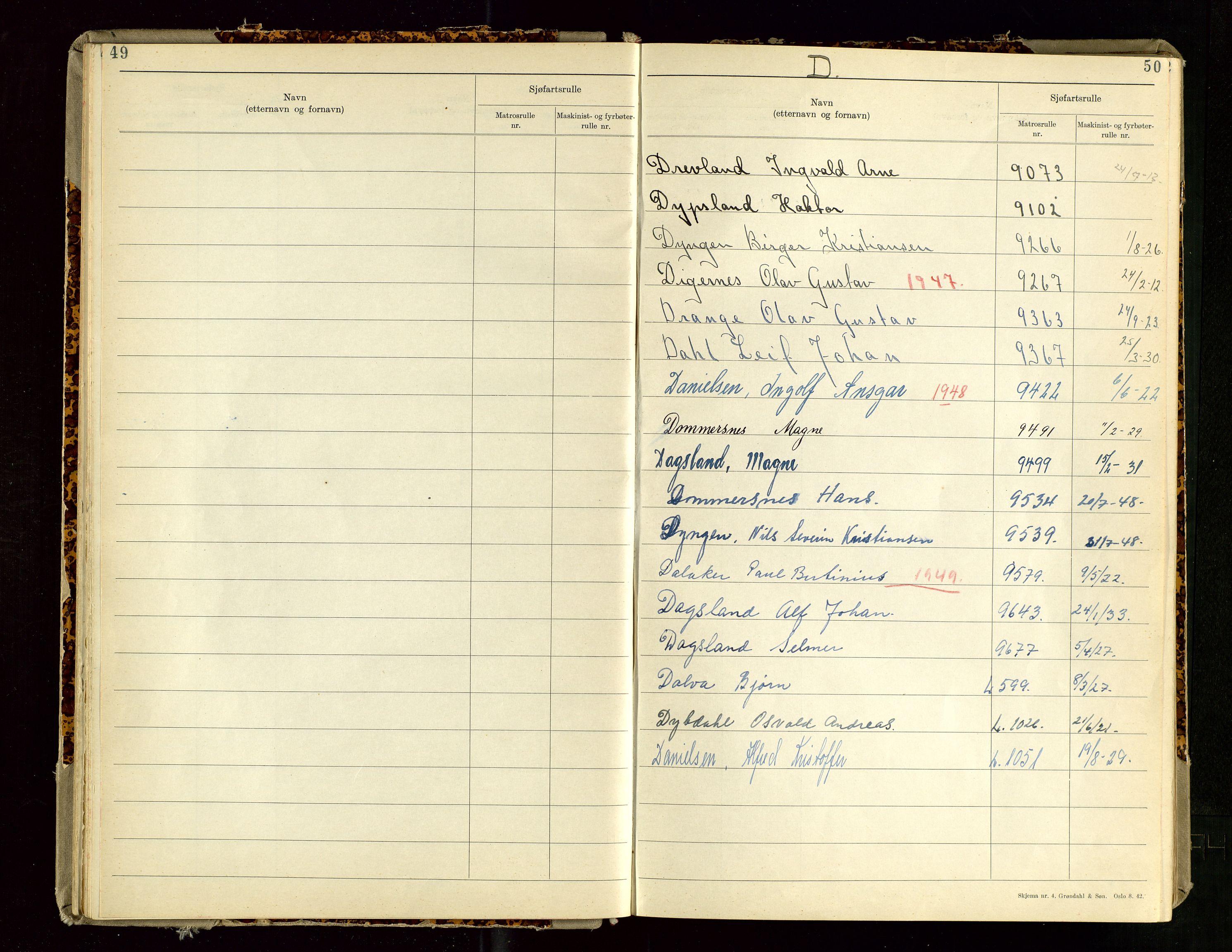 SAST, Haugesund sjømannskontor, F/Fb/Fba/L0007: Navneregister med henvisning til rullenummer (etternavn) Haugesund krets , 1944, s. 50