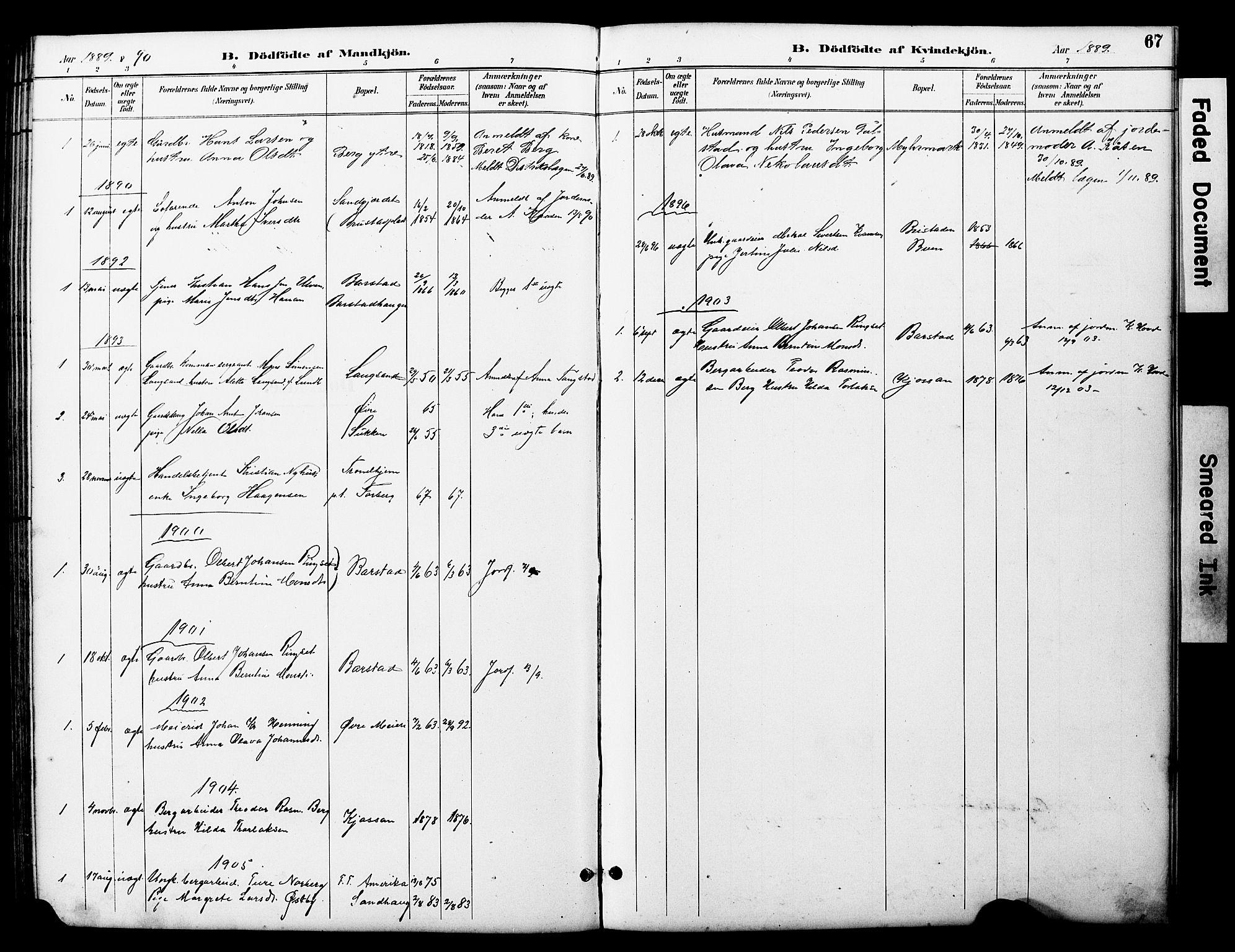 SAT, Ministerialprotokoller, klokkerbøker og fødselsregistre - Nord-Trøndelag, 722/L0226: Klokkerbok nr. 722C02, 1889-1927, s. 67