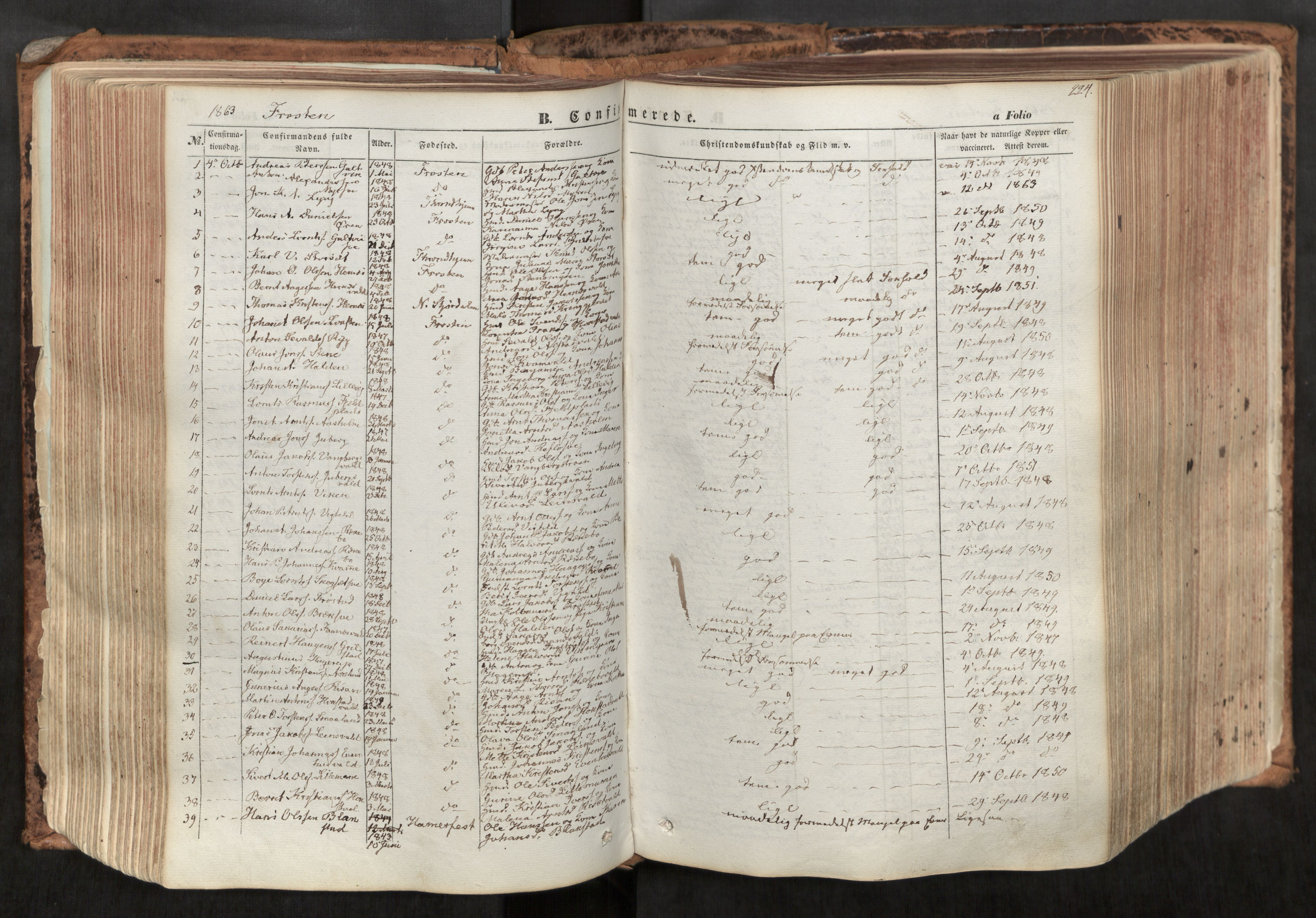SAT, Ministerialprotokoller, klokkerbøker og fødselsregistre - Nord-Trøndelag, 713/L0116: Ministerialbok nr. 713A07, 1850-1877, s. 224