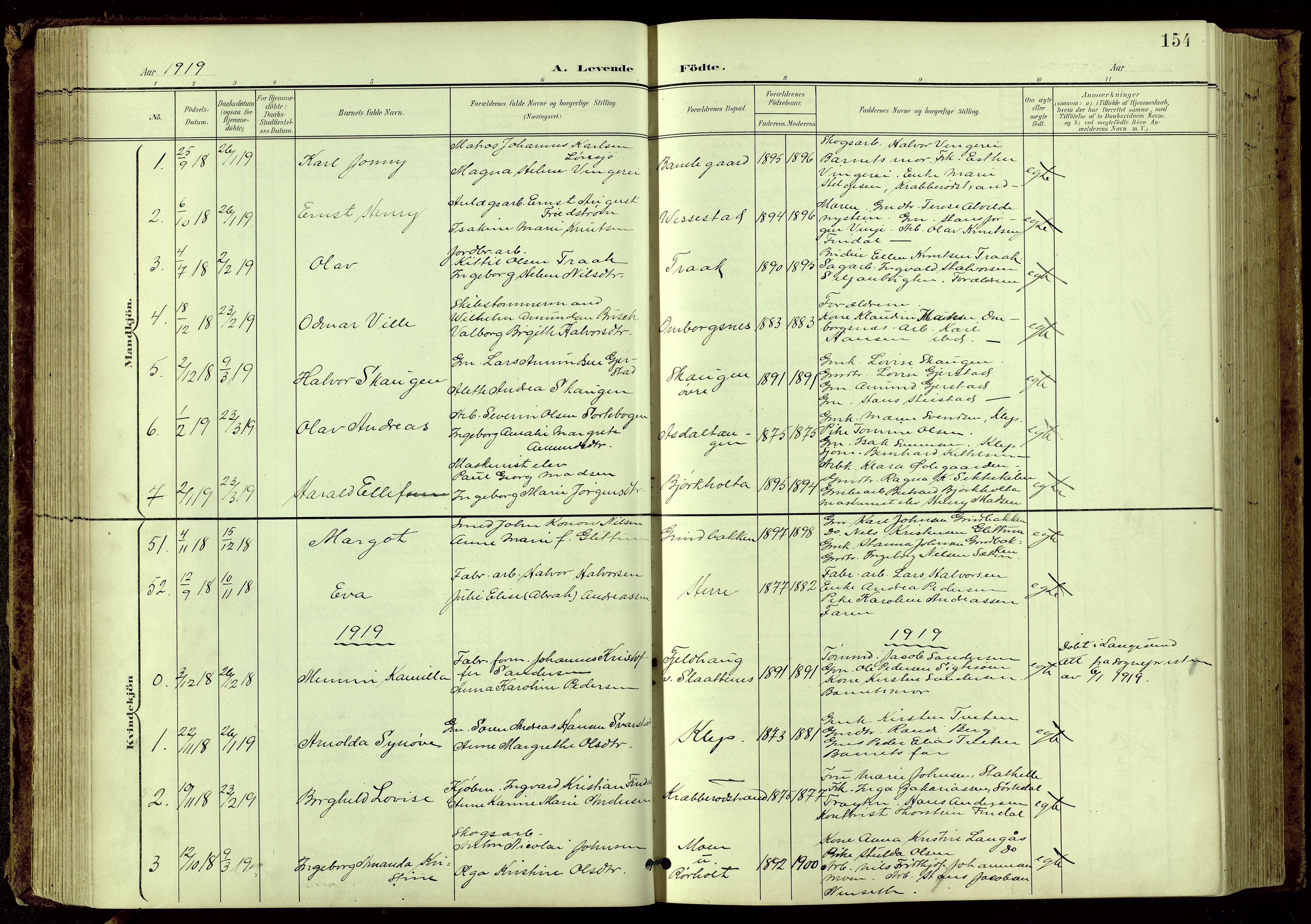 SAKO, Bamble kirkebøker, G/Ga/L0010: Klokkerbok nr. I 10, 1901-1919, s. 154