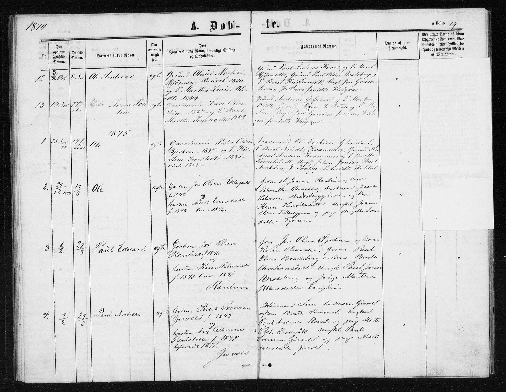SAT, Ministerialprotokoller, klokkerbøker og fødselsregistre - Sør-Trøndelag, 608/L0333: Ministerialbok nr. 608A02, 1862-1876, s. 29