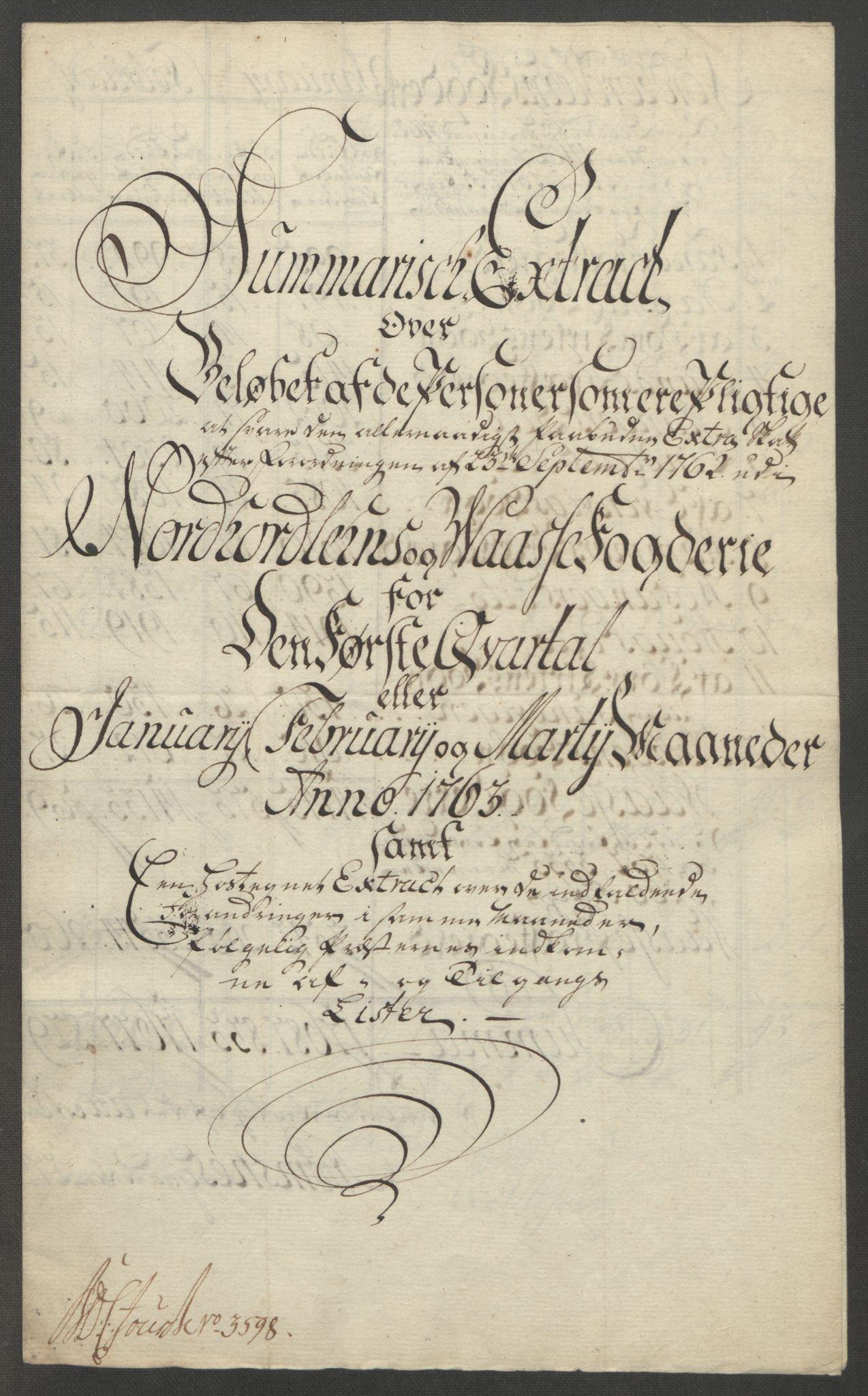 RA, Rentekammeret inntil 1814, Reviderte regnskaper, Fogderegnskap, R51/L3303: Ekstraskatten Nordhordland og Voss, 1762-1772, s. 27