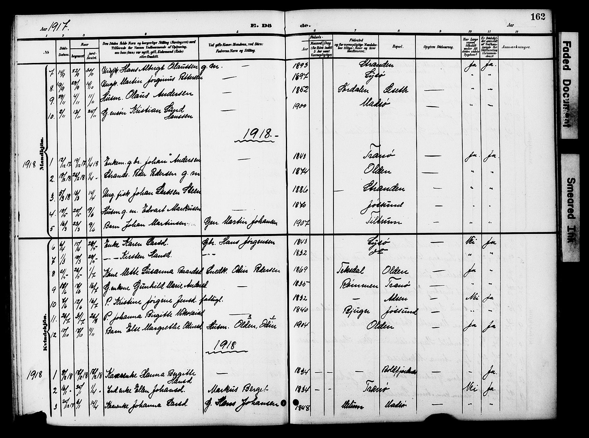 SAT, Ministerialprotokoller, klokkerbøker og fødselsregistre - Sør-Trøndelag, 654/L0666: Klokkerbok nr. 654C02, 1901-1925, s. 162