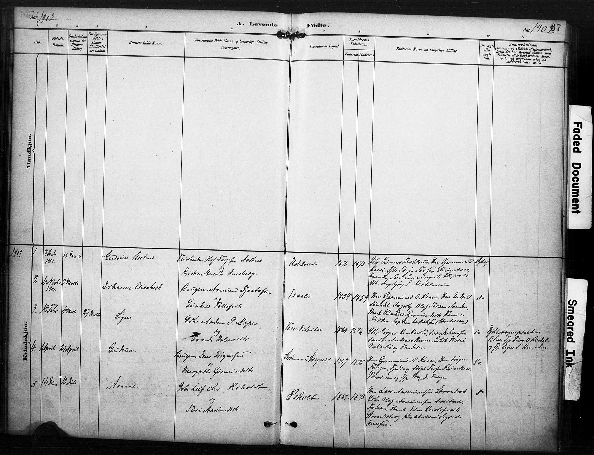 SAKO, Kviteseid kirkebøker, F/Fc/L0002: Ministerialbok nr. III 2, 1882-1908, s. 37