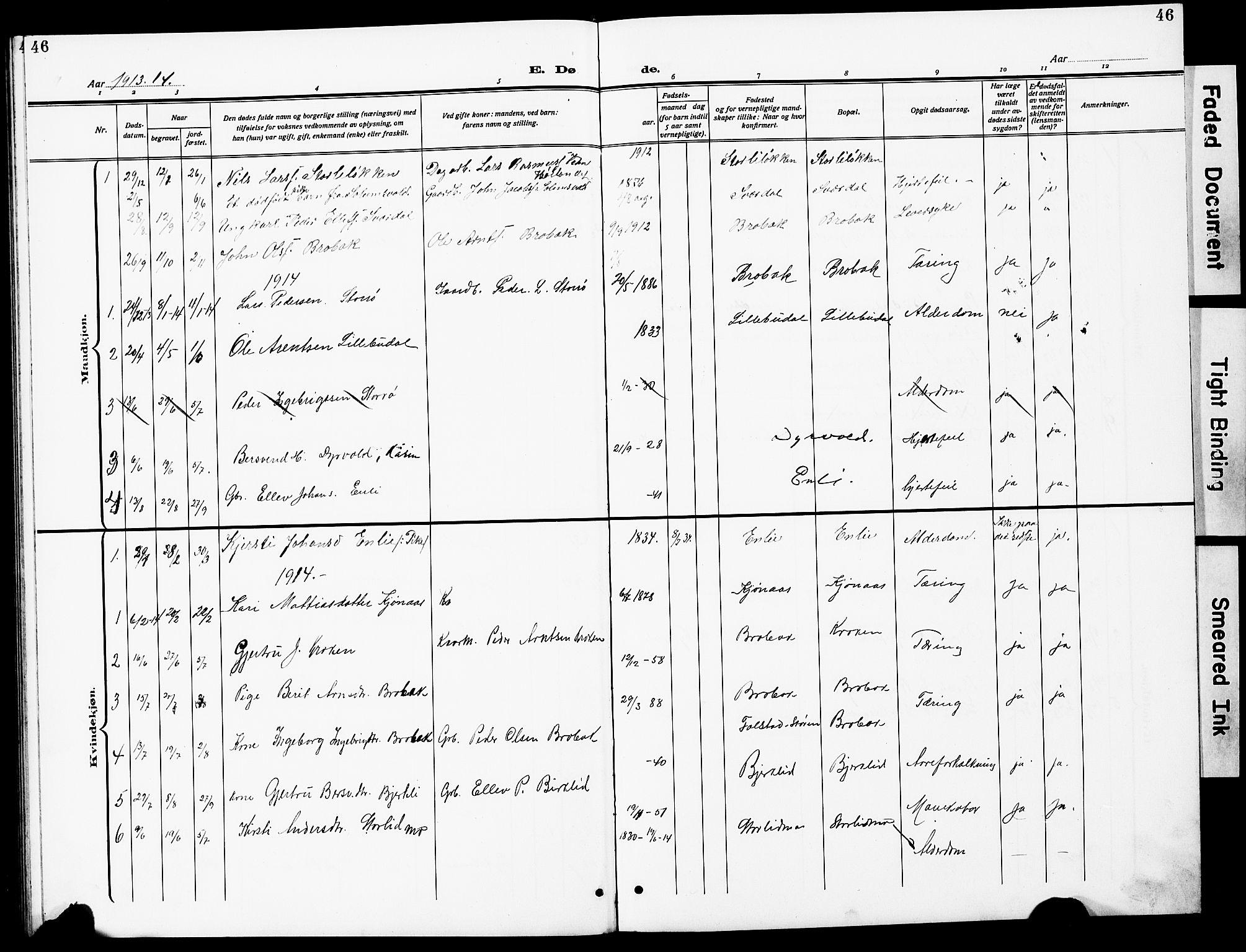 SAT, Ministerialprotokoller, klokkerbøker og fødselsregistre - Sør-Trøndelag, 690/L1052: Klokkerbok nr. 690C02, 1907-1929, s. 46