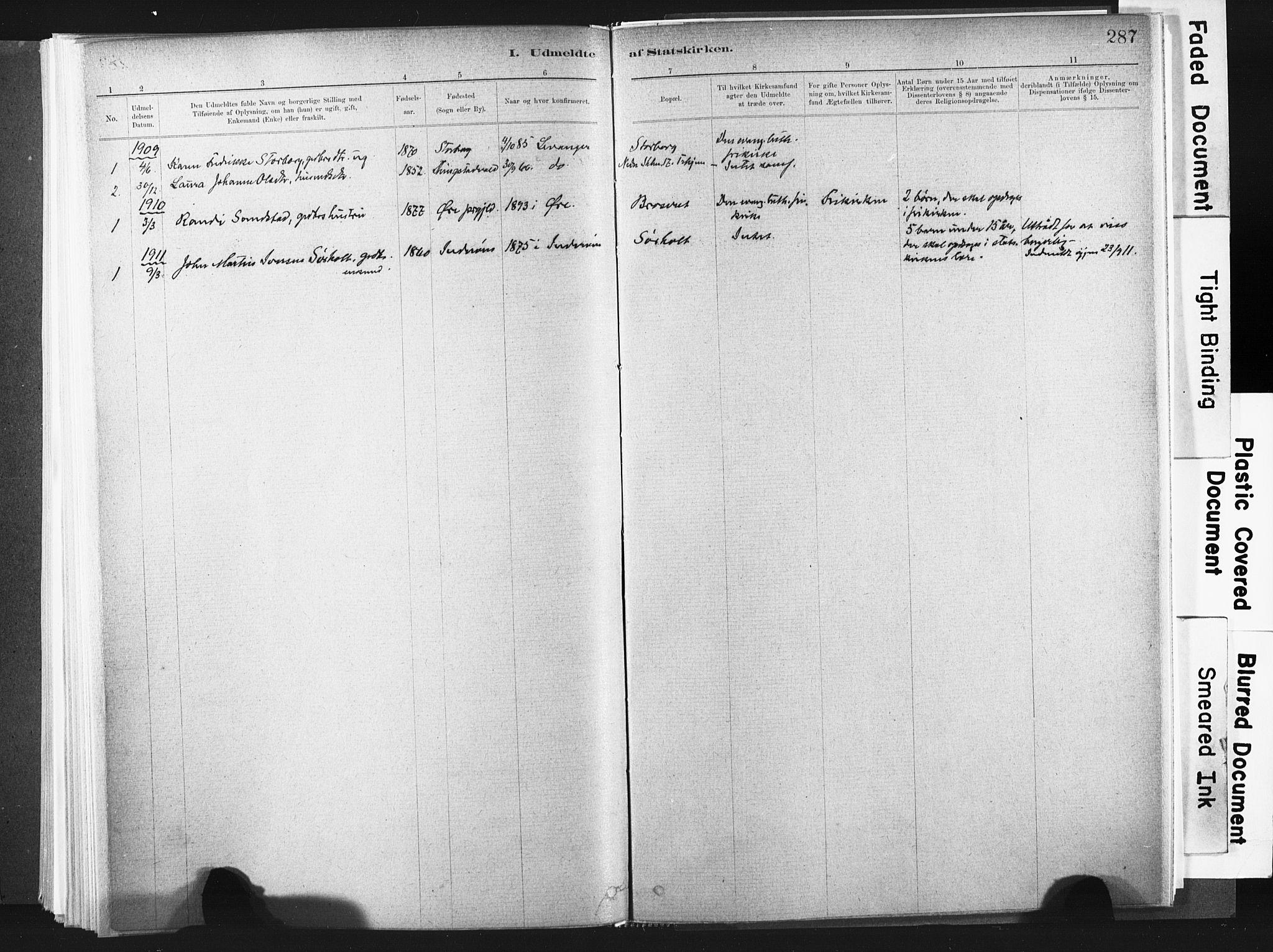SAT, Ministerialprotokoller, klokkerbøker og fødselsregistre - Nord-Trøndelag, 721/L0207: Ministerialbok nr. 721A02, 1880-1911, s. 287