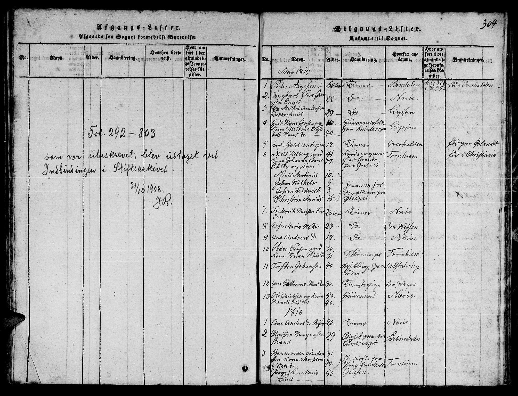 SAT, Ministerialprotokoller, klokkerbøker og fødselsregistre - Nord-Trøndelag, 780/L0648: Klokkerbok nr. 780C01 /1, 1815-1870, s. 304
