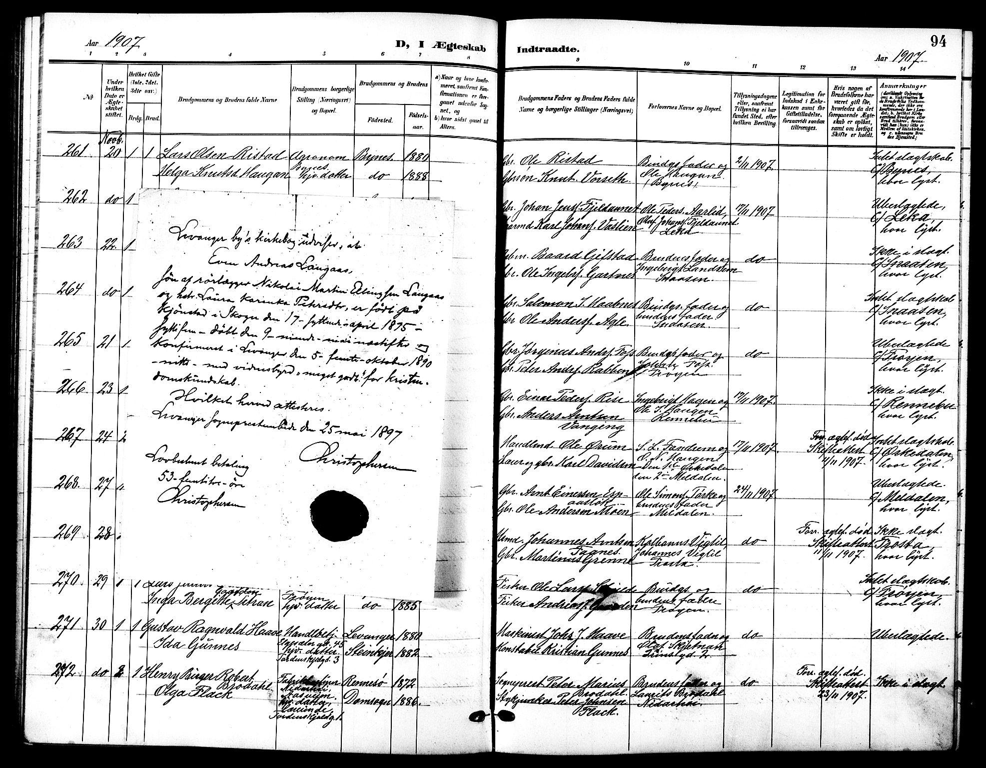 SAT, Ministerialprotokoller, klokkerbøker og fødselsregistre - Sør-Trøndelag, 601/L0095: Klokkerbok nr. 601C13, 1902-1911, s. 94