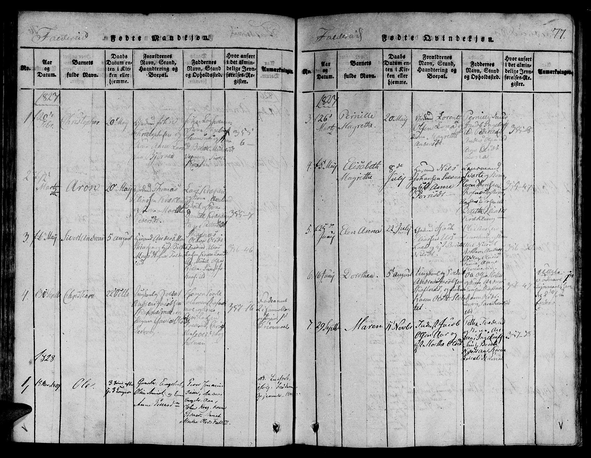 SAT, Ministerialprotokoller, klokkerbøker og fødselsregistre - Nord-Trøndelag, 780/L0636: Ministerialbok nr. 780A03 /3, 1815-1829, s. 77