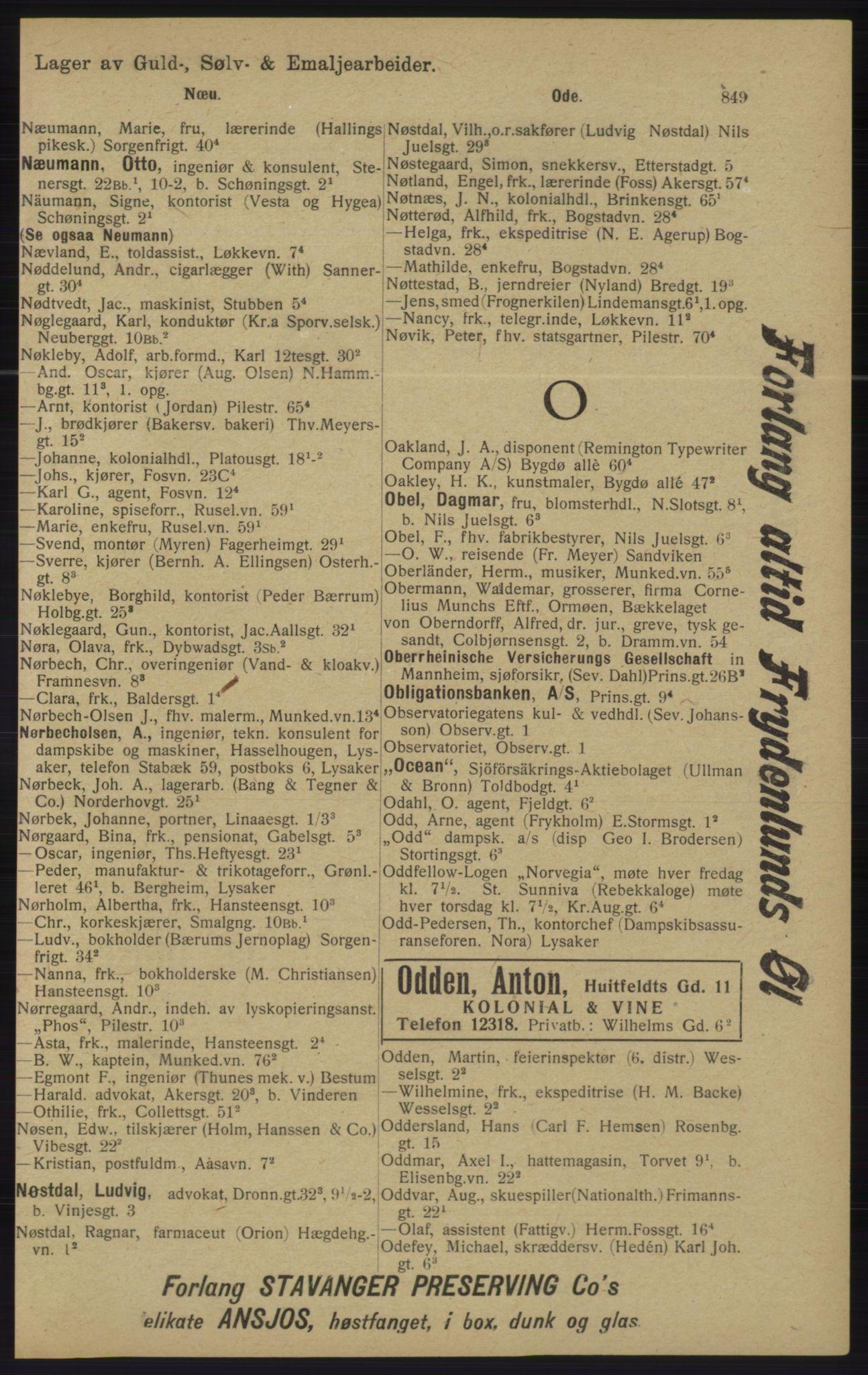 RA, Kristiania adressebok (publikasjon)*, 1913, s. 849