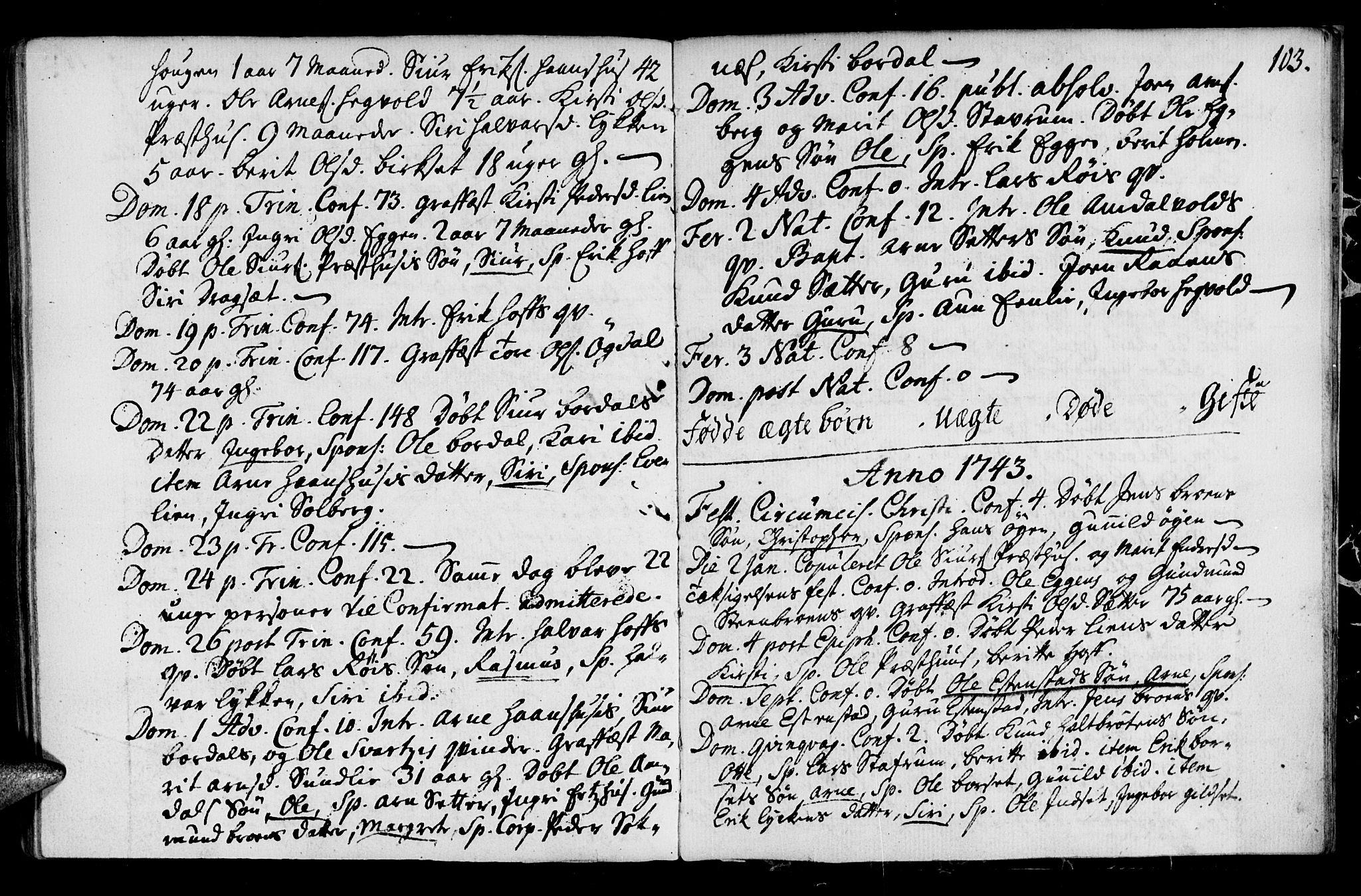 SAT, Ministerialprotokoller, klokkerbøker og fødselsregistre - Sør-Trøndelag, 689/L1036: Ministerialbok nr. 689A01, 1696-1746, s. 103