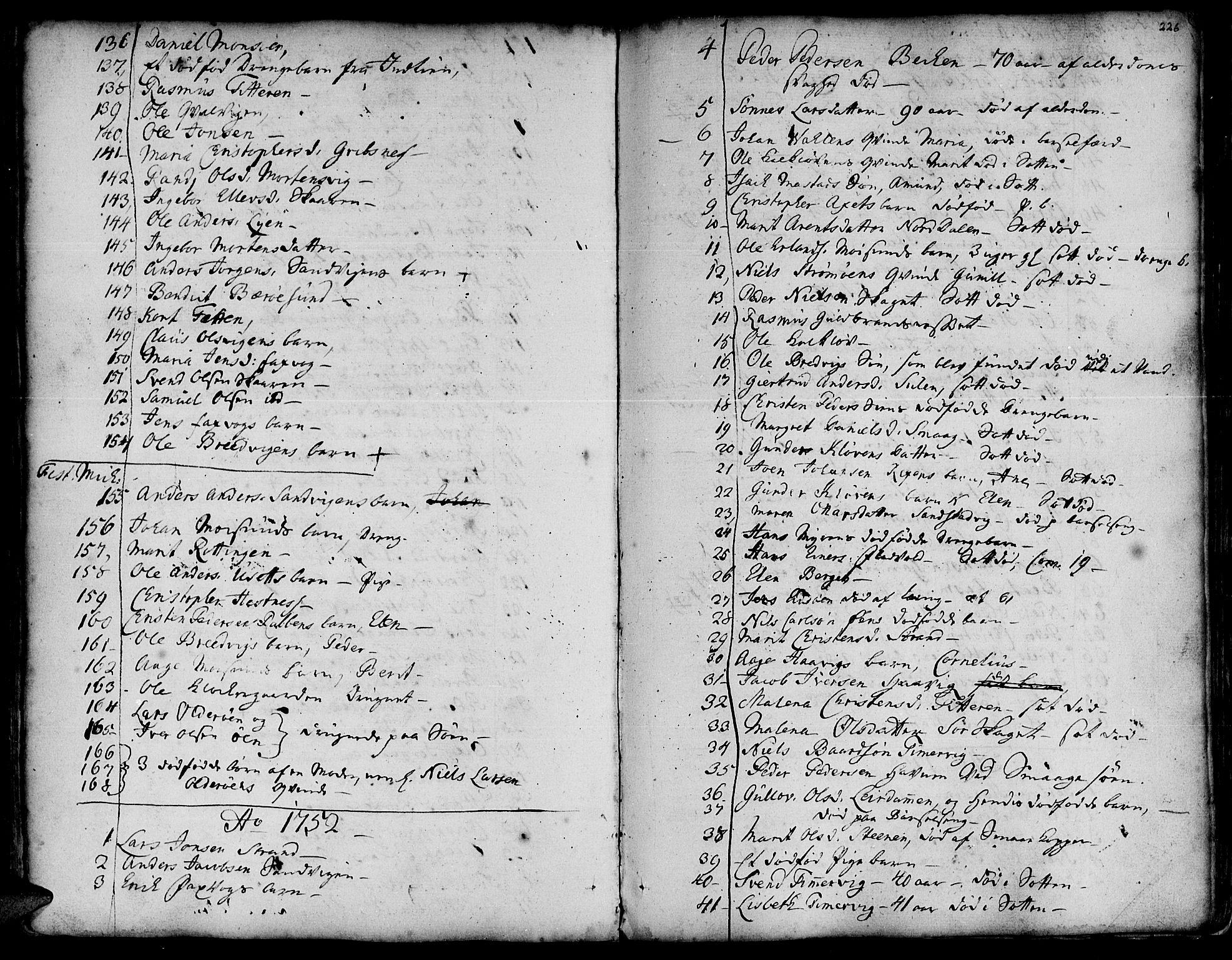 SAT, Ministerialprotokoller, klokkerbøker og fødselsregistre - Sør-Trøndelag, 634/L0525: Ministerialbok nr. 634A01, 1736-1775, s. 226