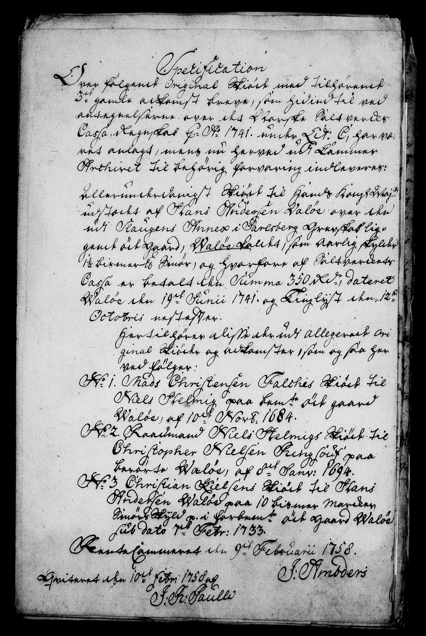 RA, Rentekammeret inntil 1814, Realistisk ordnet avdeling, On/L0009: [Jj 9]: Forskjellige skjøter og makeskifter med kirker og prestebord. Ervervelsen av Vallø saltverks eiendommer, s. 2