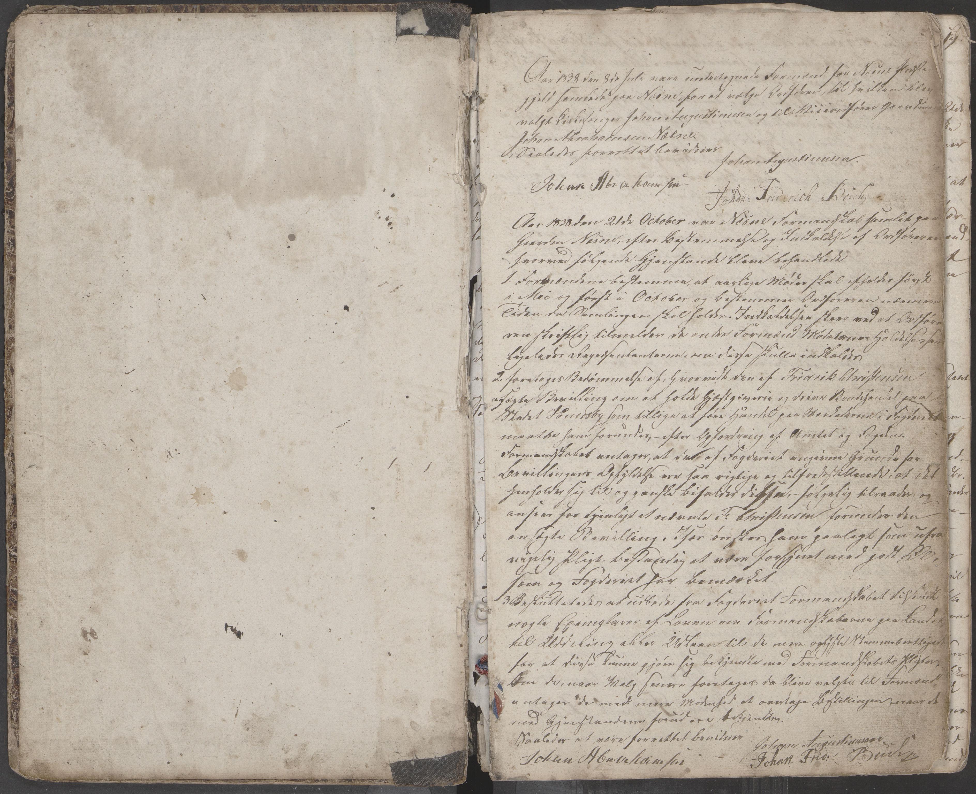 AIN, Nesna kommune. Formannskapet, 100/L0001: Møtebok, 1838-1873, s. 1