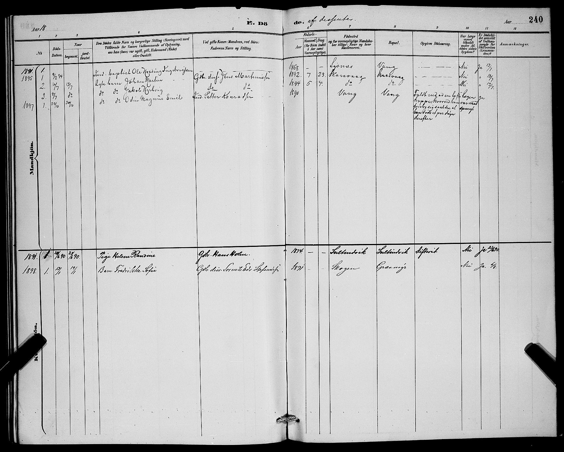 SATØ, Lenvik sokneprestembete, H/Ha: Klokkerbok nr. 7, 1890-1898, s. 240