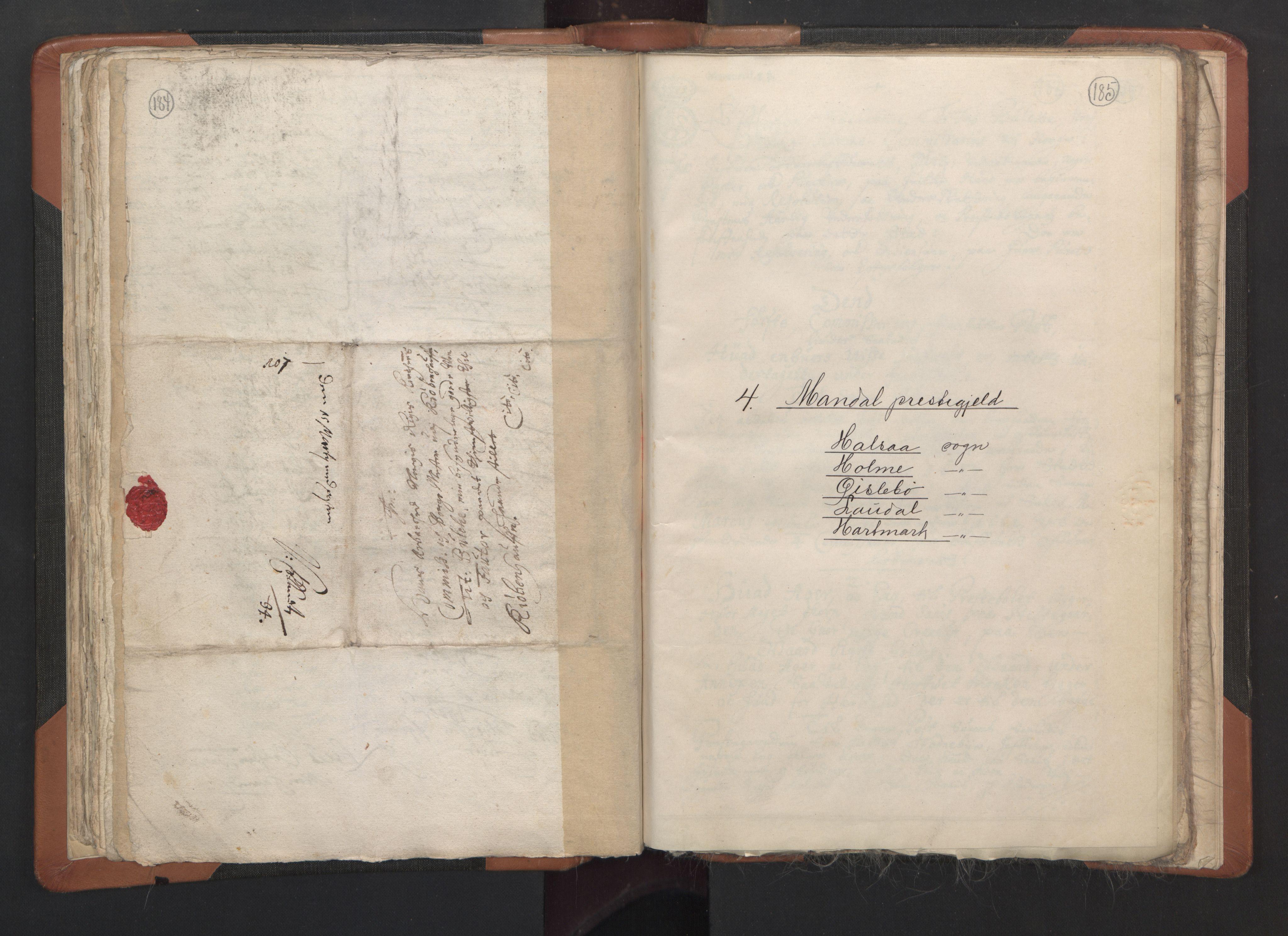 RA, Sogneprestenes manntall 1664-1666, nr. 15: Mandal prosti, 1664-1666, s. 184-185