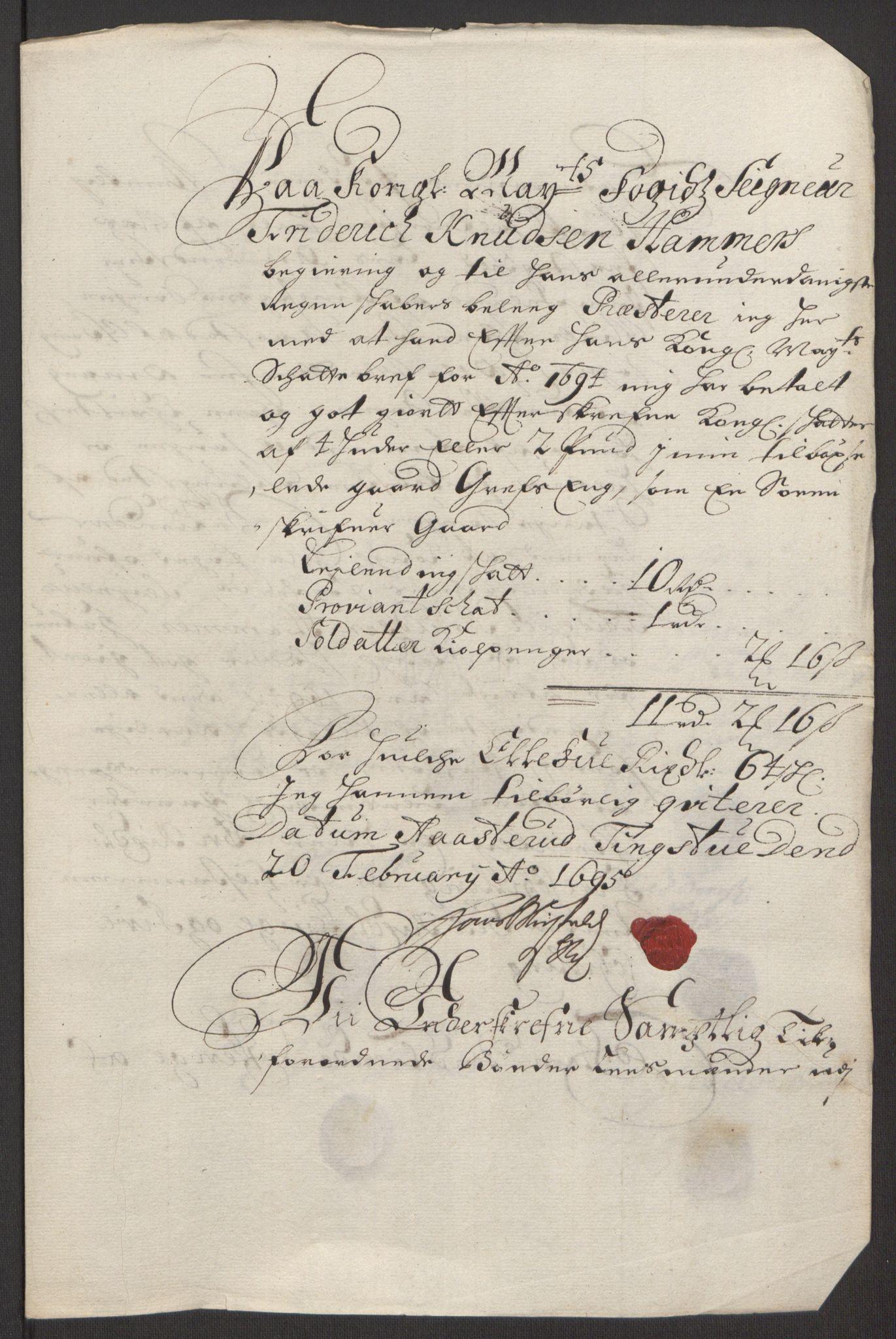 RA, Rentekammeret inntil 1814, Reviderte regnskaper, Fogderegnskap, R16/L1035: Fogderegnskap Hedmark, 1694, s. 203