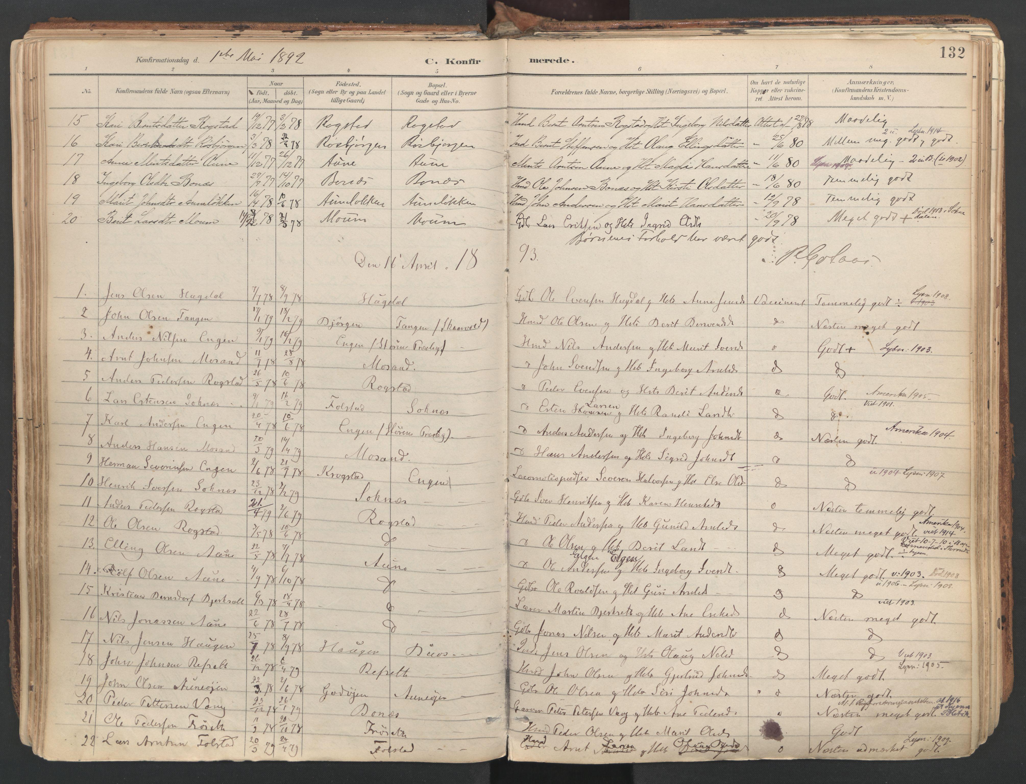 SAT, Ministerialprotokoller, klokkerbøker og fødselsregistre - Sør-Trøndelag, 687/L1004: Ministerialbok nr. 687A10, 1891-1923, s. 132